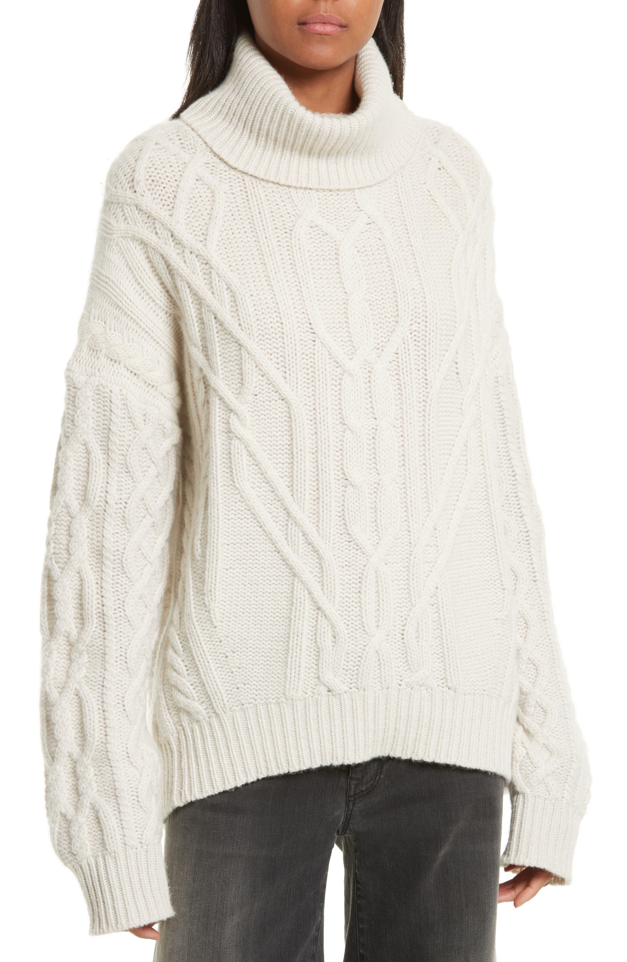 Cecil Cable Knit Cashmere Turtleneck Sweater,                         Main,                         color, 902