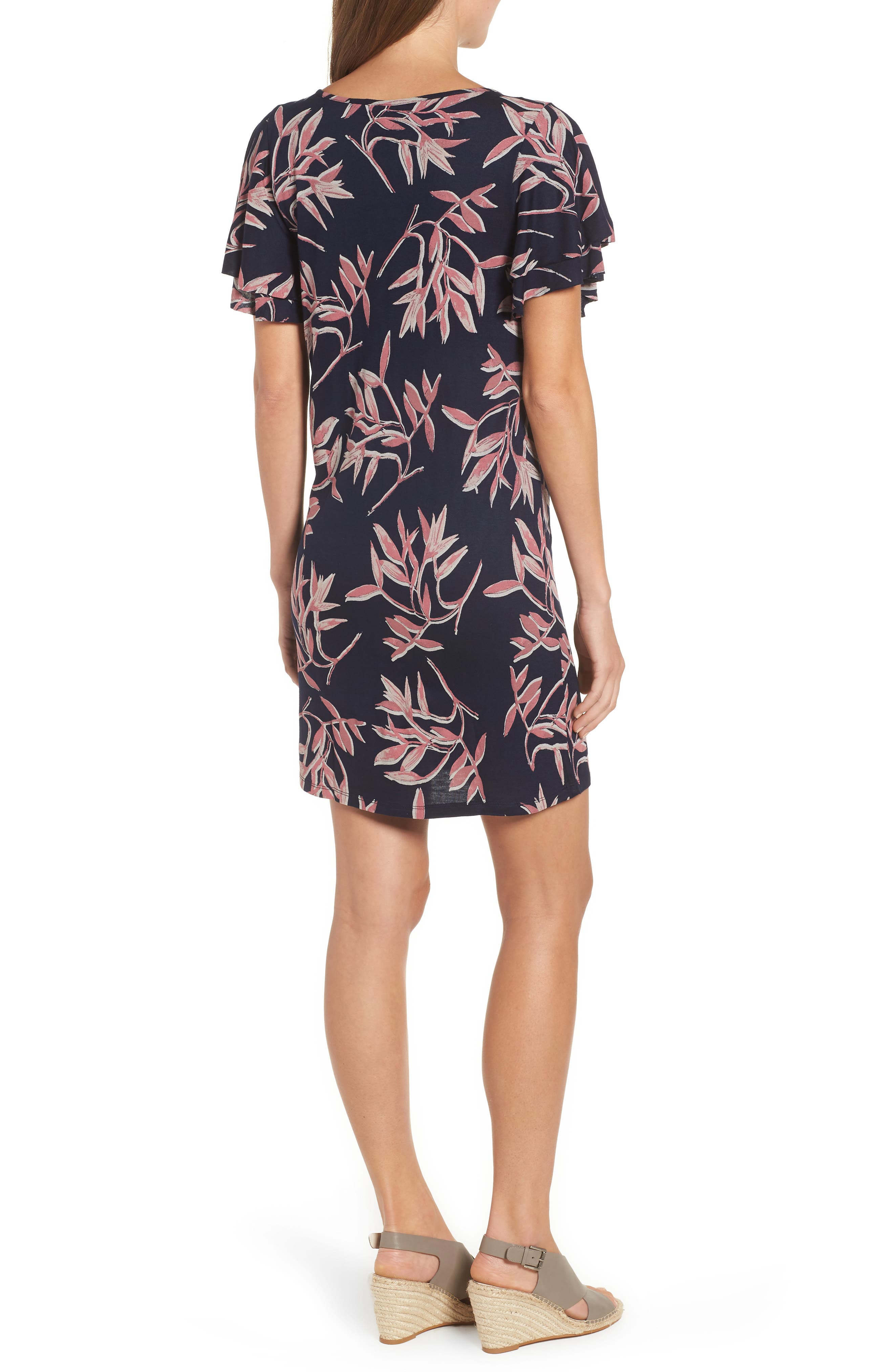 Printed Ruffle Sleeve Dress,                             Alternate thumbnail 4, color,                             490