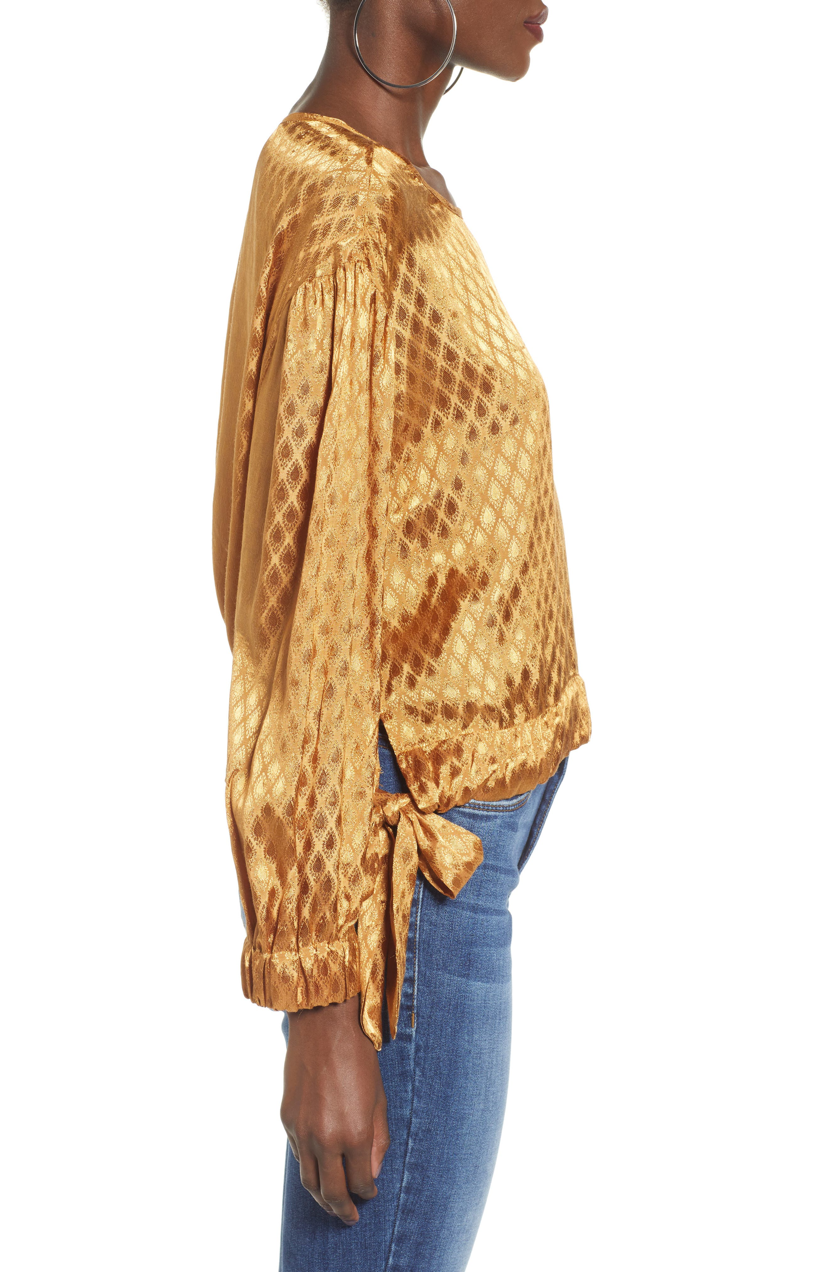 Reed Jacquard Top,                             Alternate thumbnail 3, color,                             GOLD