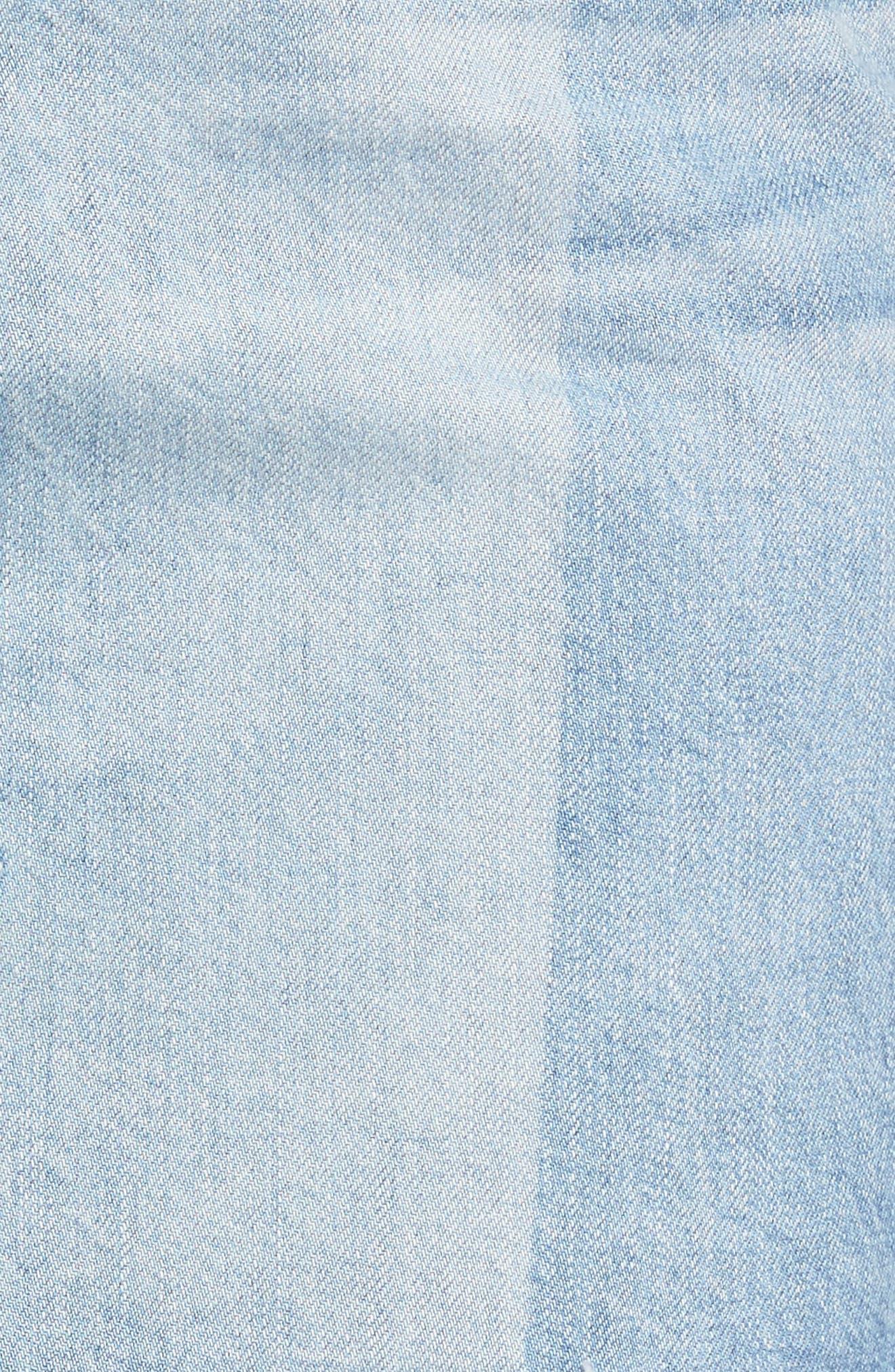 Sandy Raw Edge Denim Miniskirt,                             Alternate thumbnail 5, color,                             466