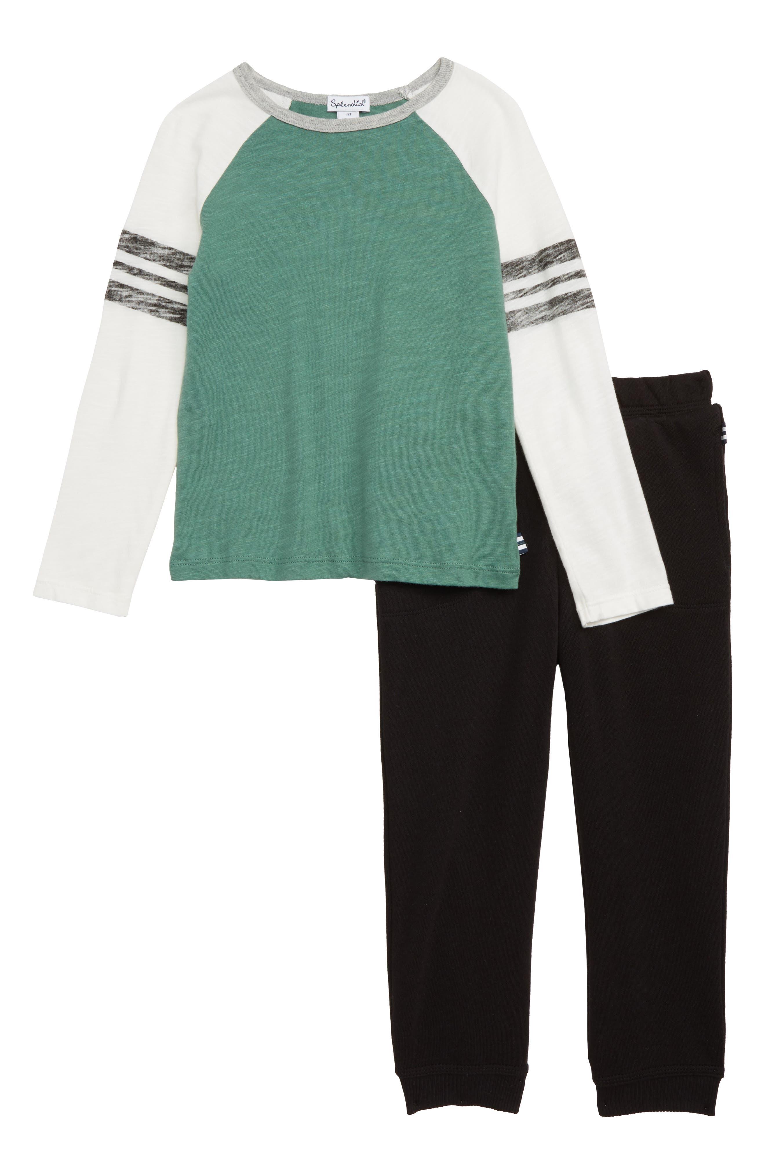 Raglan T-Shirt & Jogger Pants Set, Main, color, TREE LINE 2