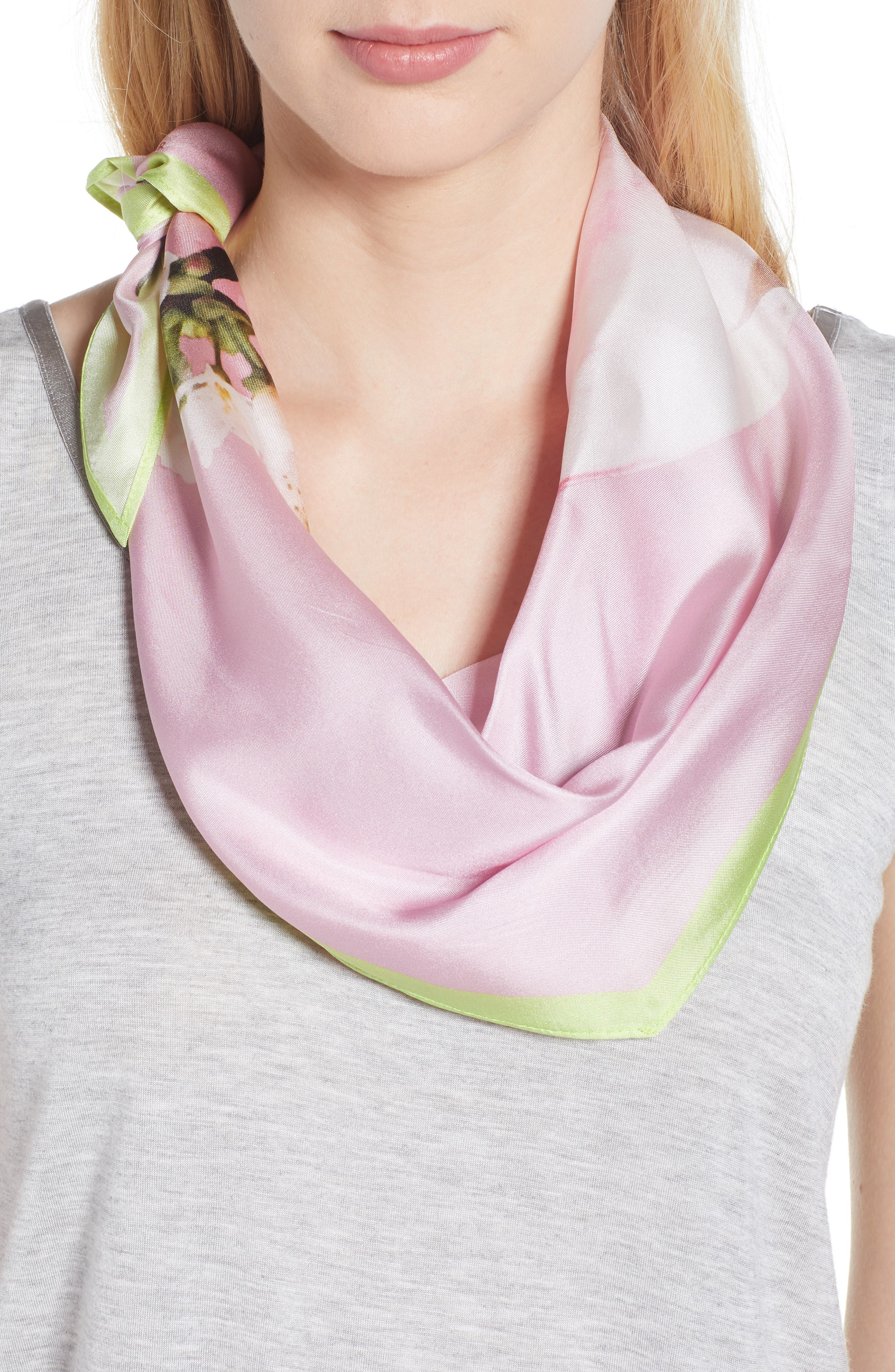 Harmony Diamond Cut Silk Scarf,                             Alternate thumbnail 5, color,                             PALE PINK