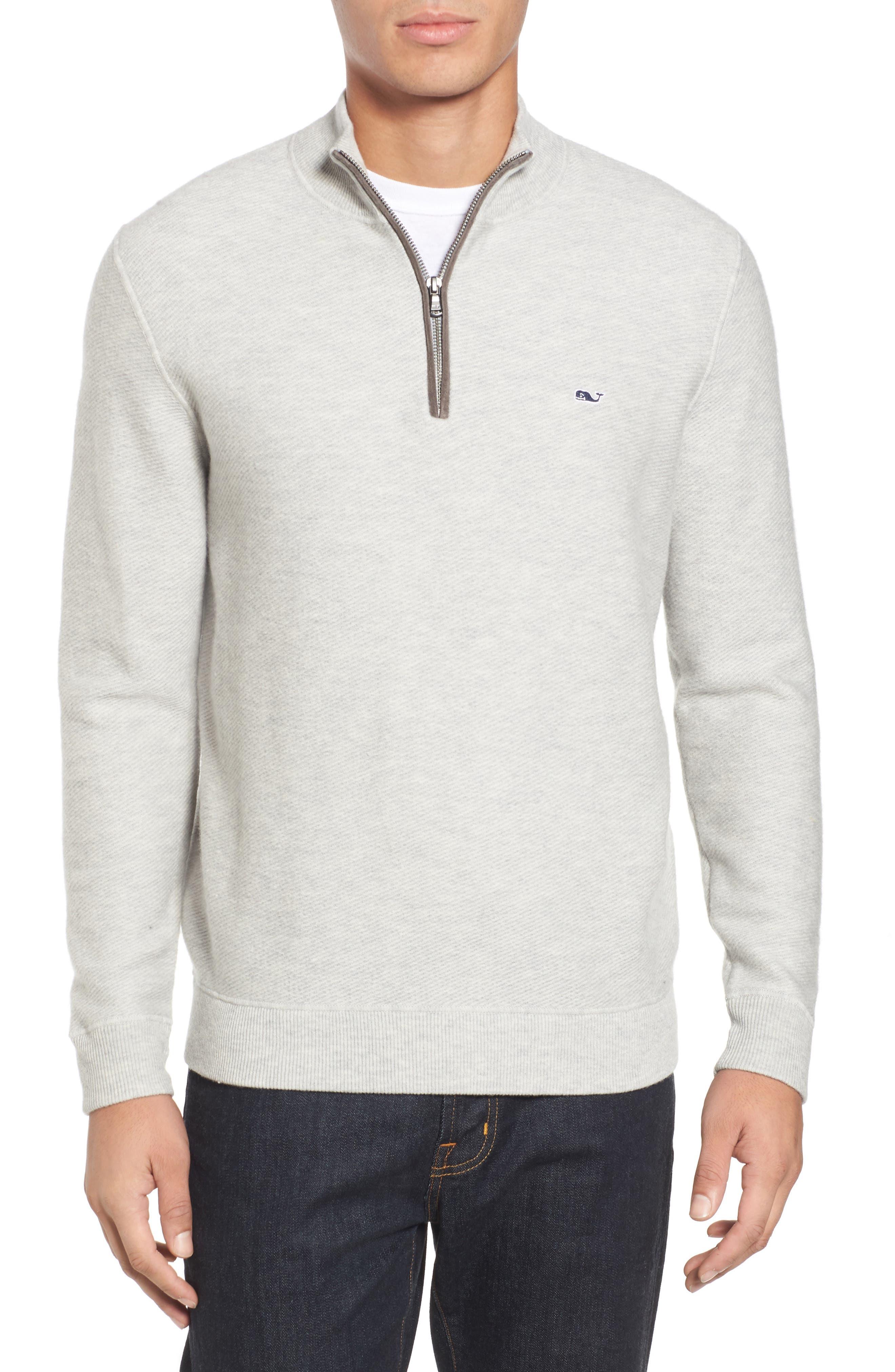 Merino Wool Twill Stitch Quarter Zip Sweater,                         Main,                         color, 039