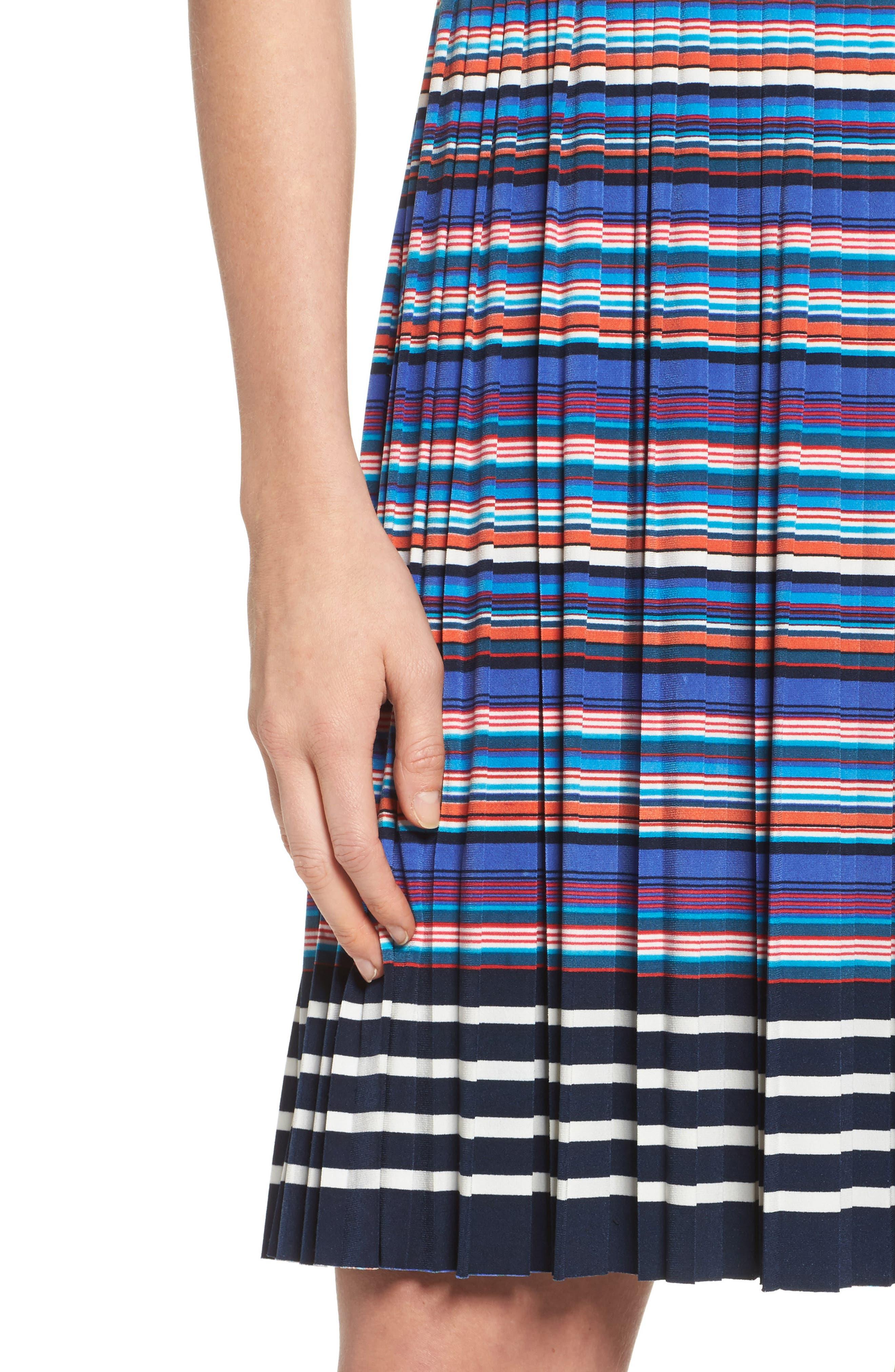 Pleat Fit & Flare Dress,                             Alternate thumbnail 4, color,                             466