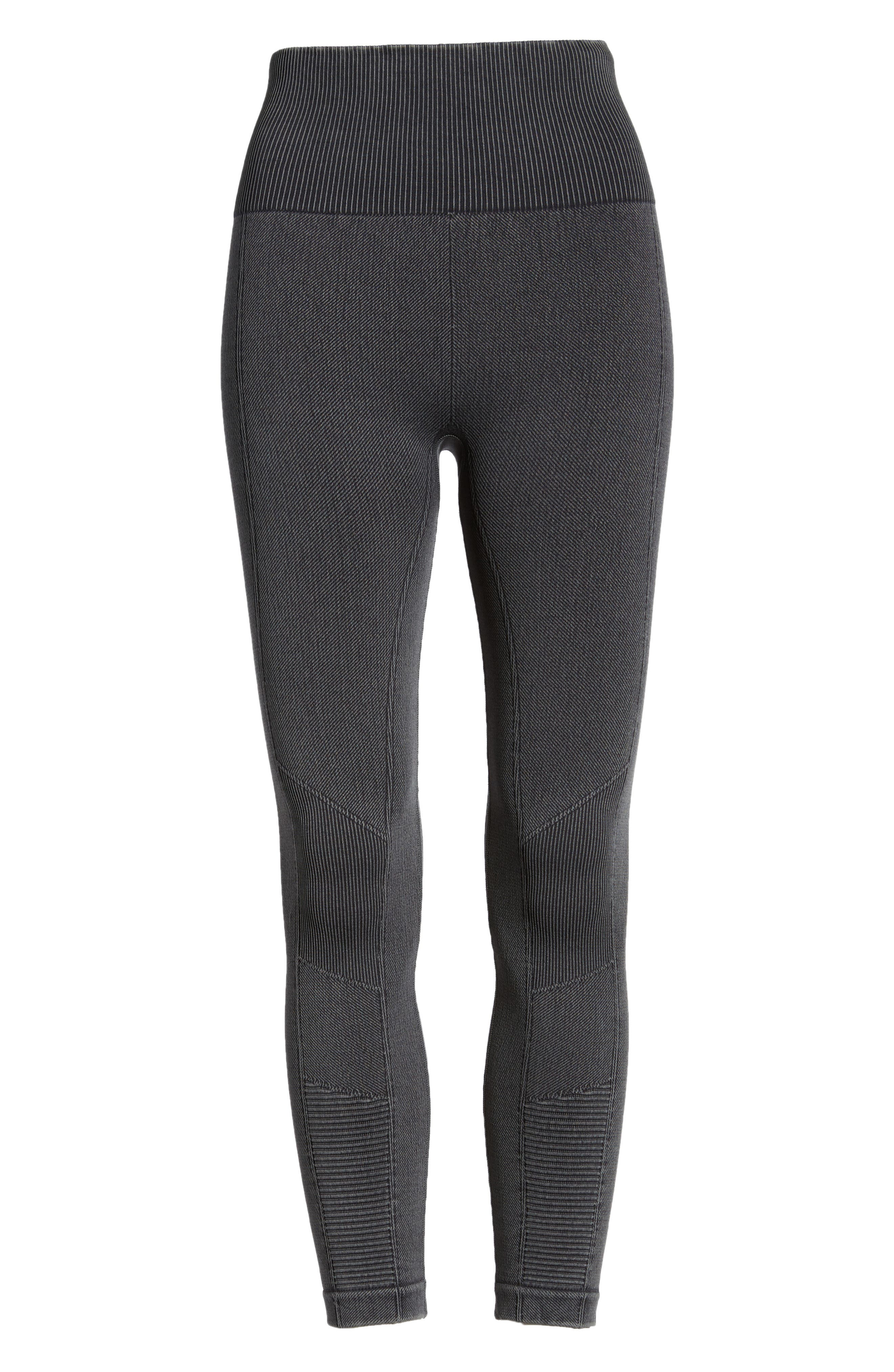 Washed Moto Seamless Skimmer Leggings,                             Alternate thumbnail 6, color,                             001