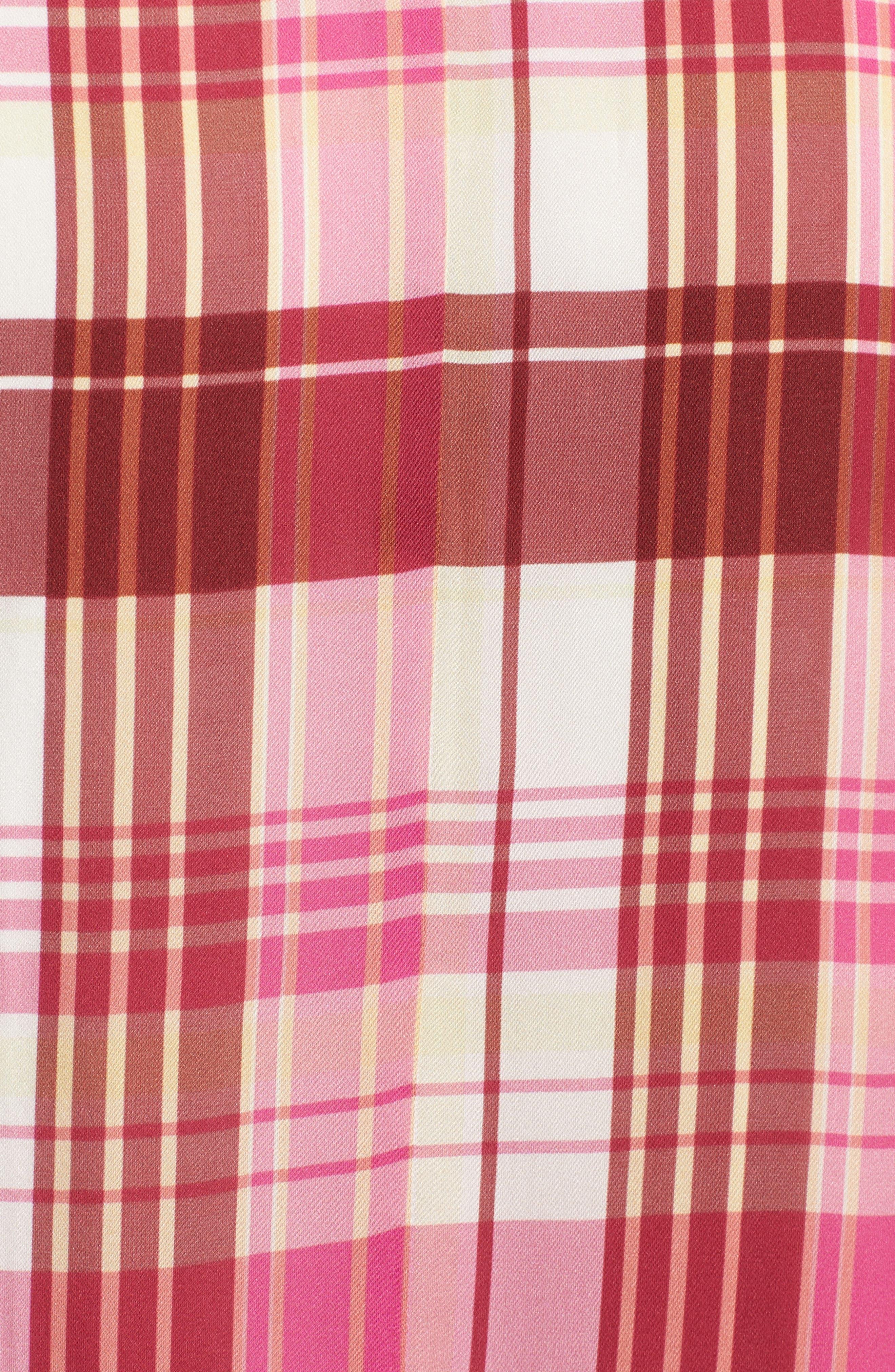 Plaid Silk Skirt,                             Alternate thumbnail 5, color,                             PINK PHLOX LARA PLAID