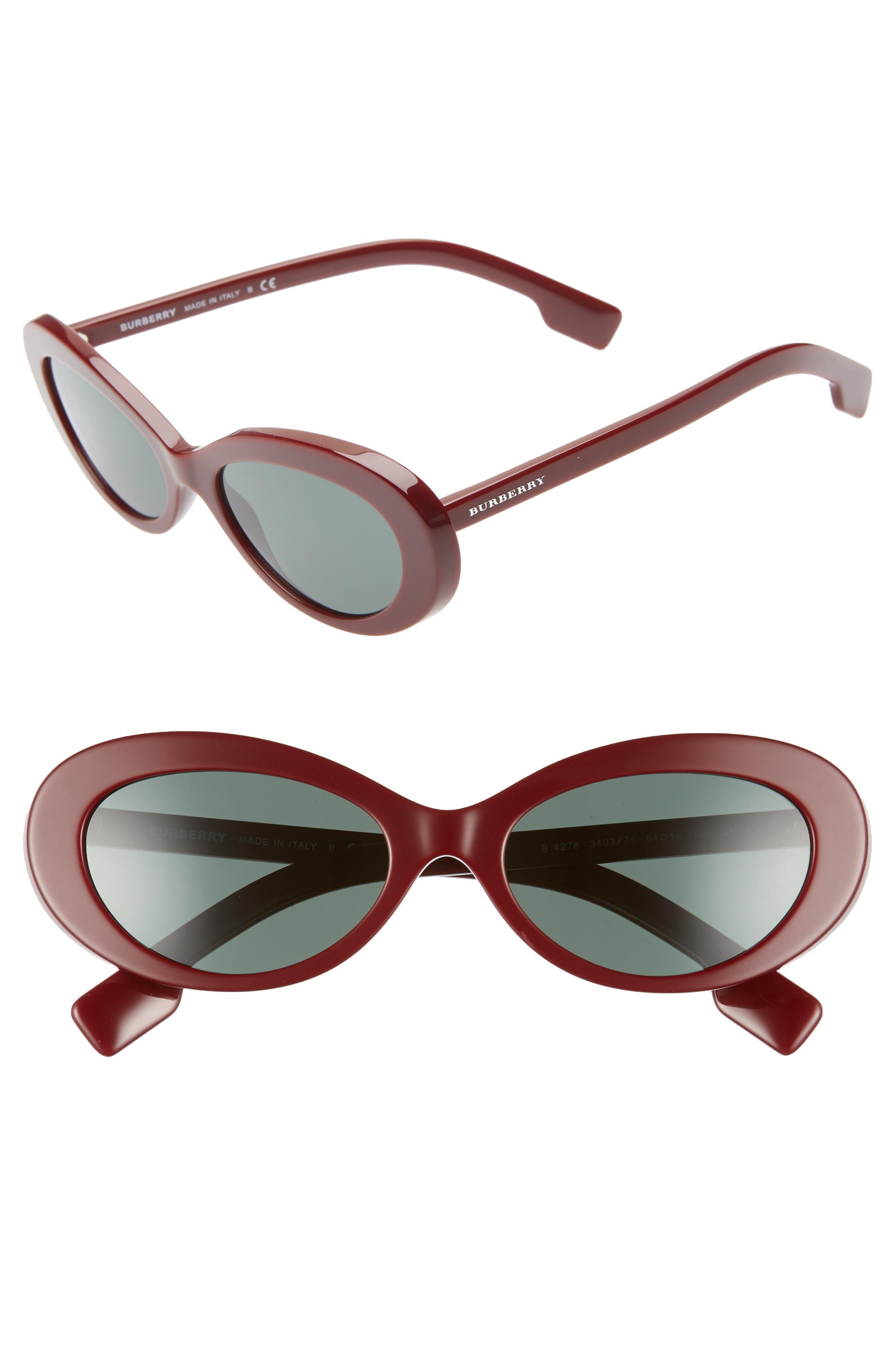 54mm Oval Sunglasses,                             Main thumbnail 1, color,                             BORDEAUX SOLID