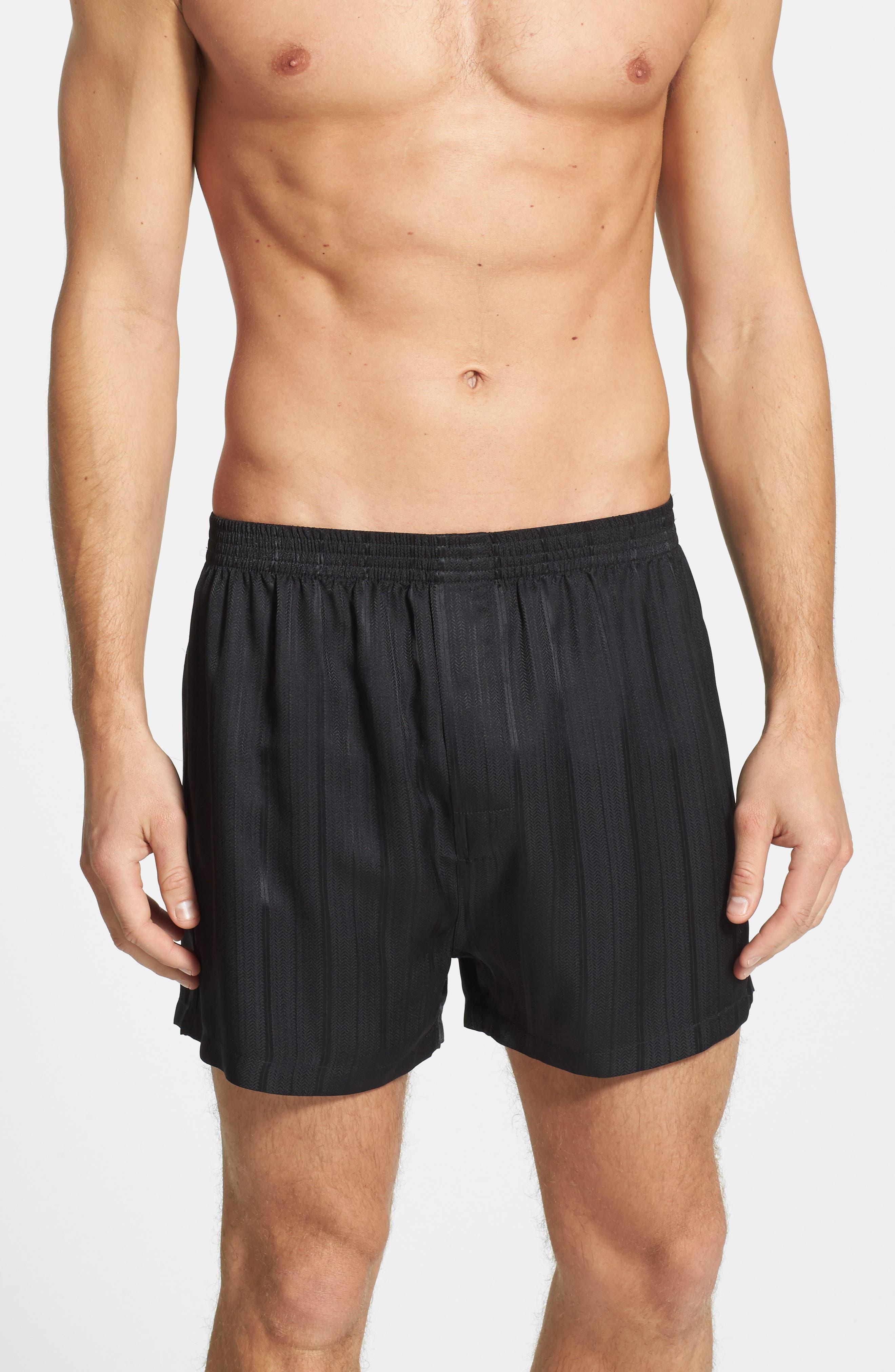 Herringbone Stripe Silk Boxer Shorts,                             Alternate thumbnail 2, color,                             NIGHT