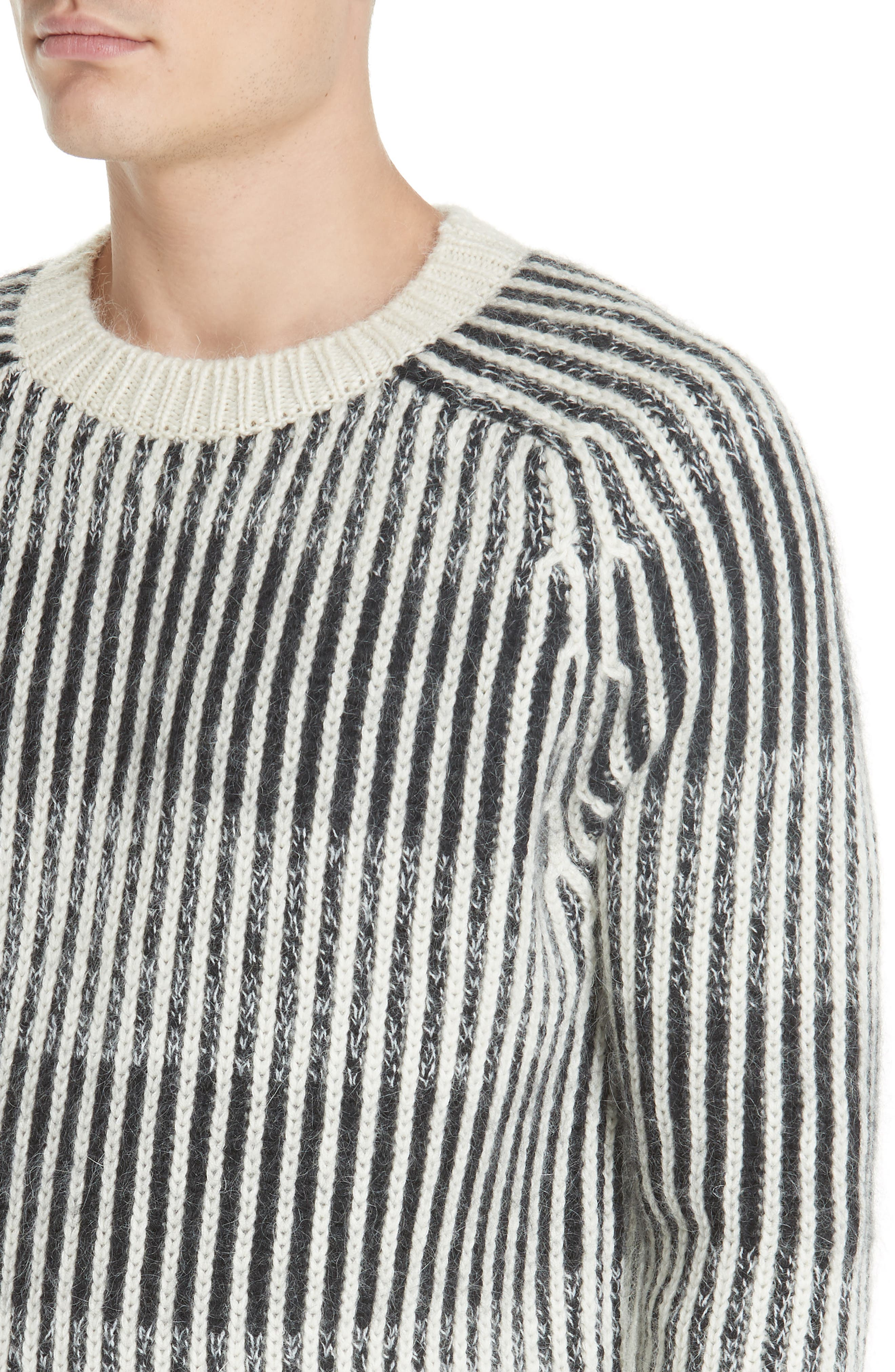 SAINT LAURENT,                             Contrast Rib Wool & Alpaca Blend Sweater,                             Alternate thumbnail 4, color,                             134