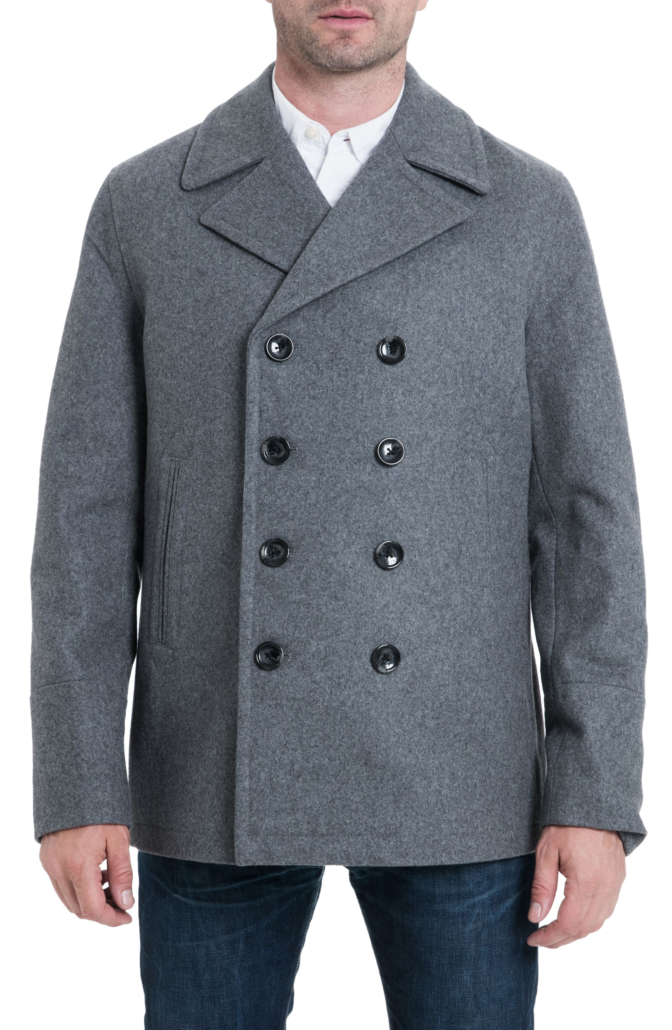 Wool Blend Double Breasted Peacoat,                             Main thumbnail 1, color,
