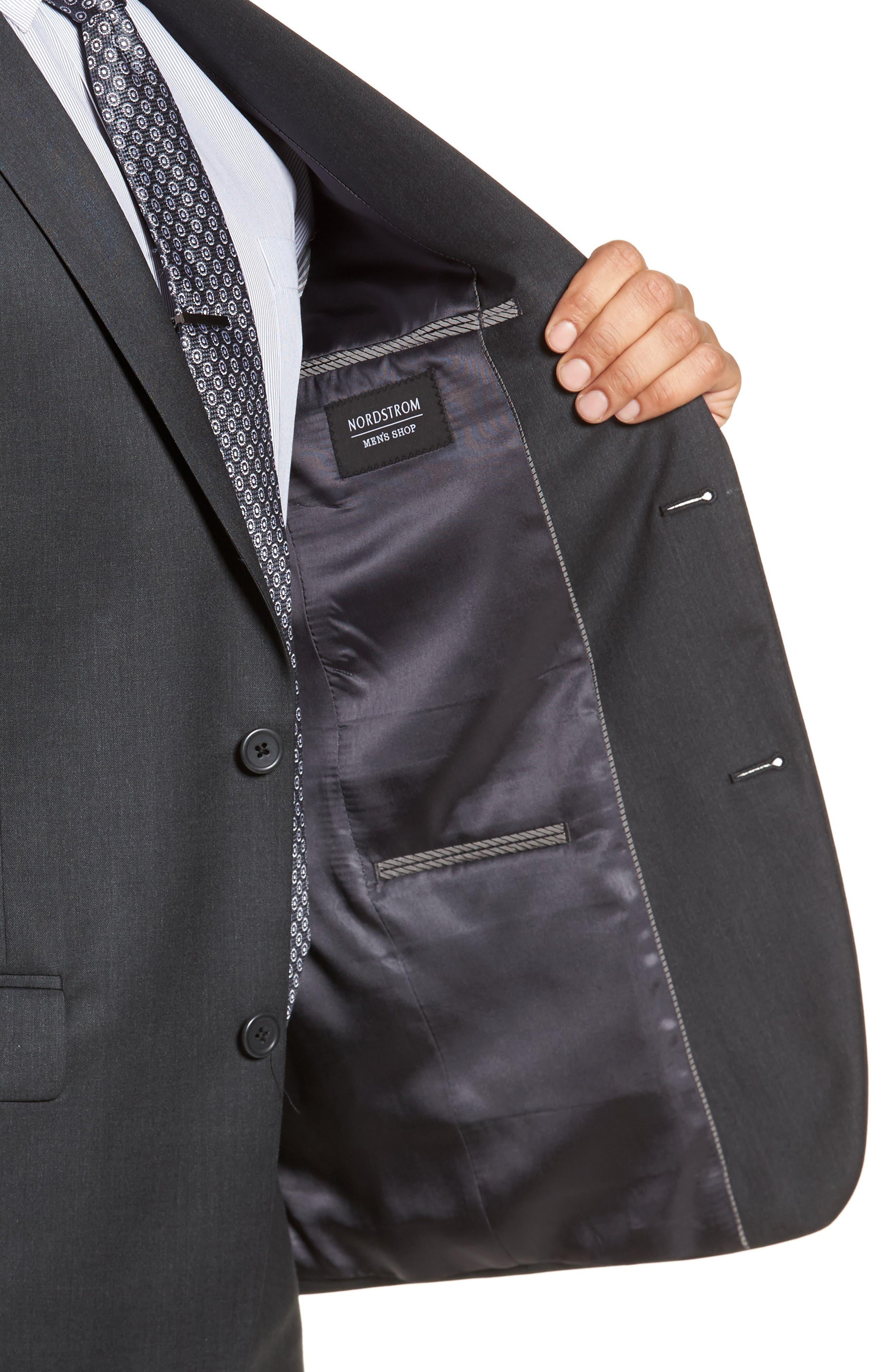 Trim Fit Solid Wool Suit,                             Alternate thumbnail 4, color,                             021