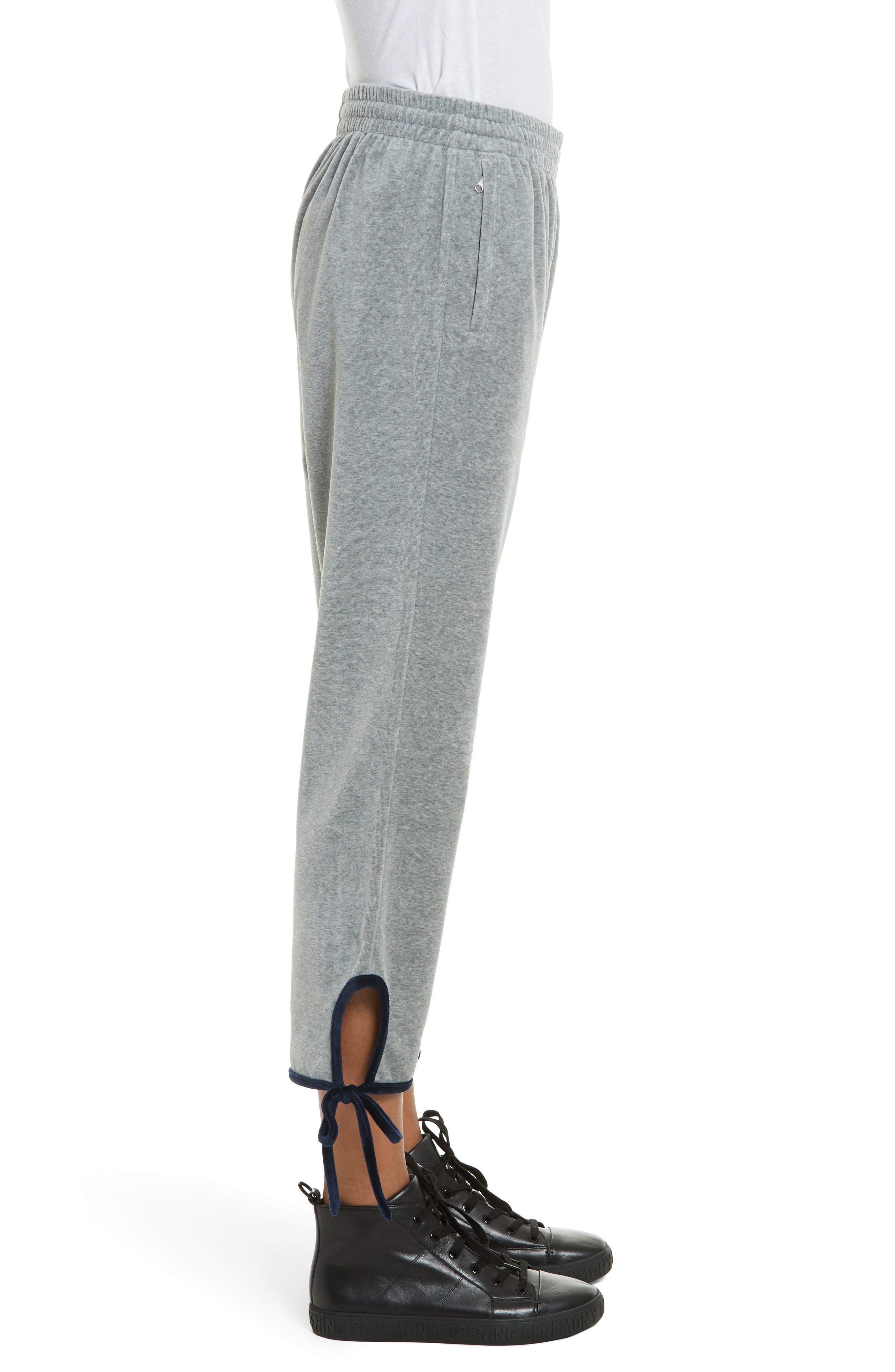 Velour Tie Track Pants,                             Alternate thumbnail 3, color,