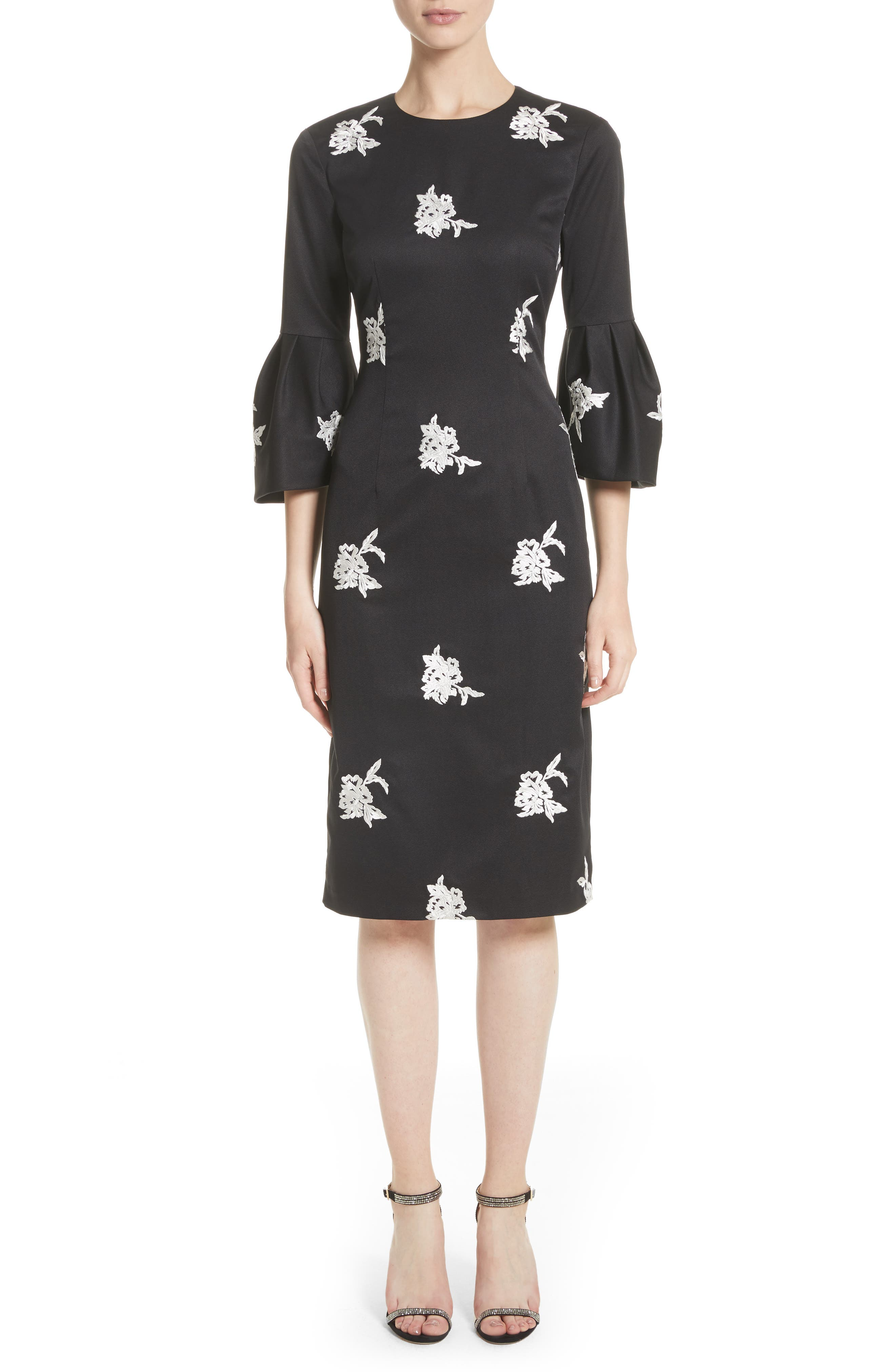 Noir Embroidered Bell Sleeve Sheath Dress,                         Main,                         color, 001