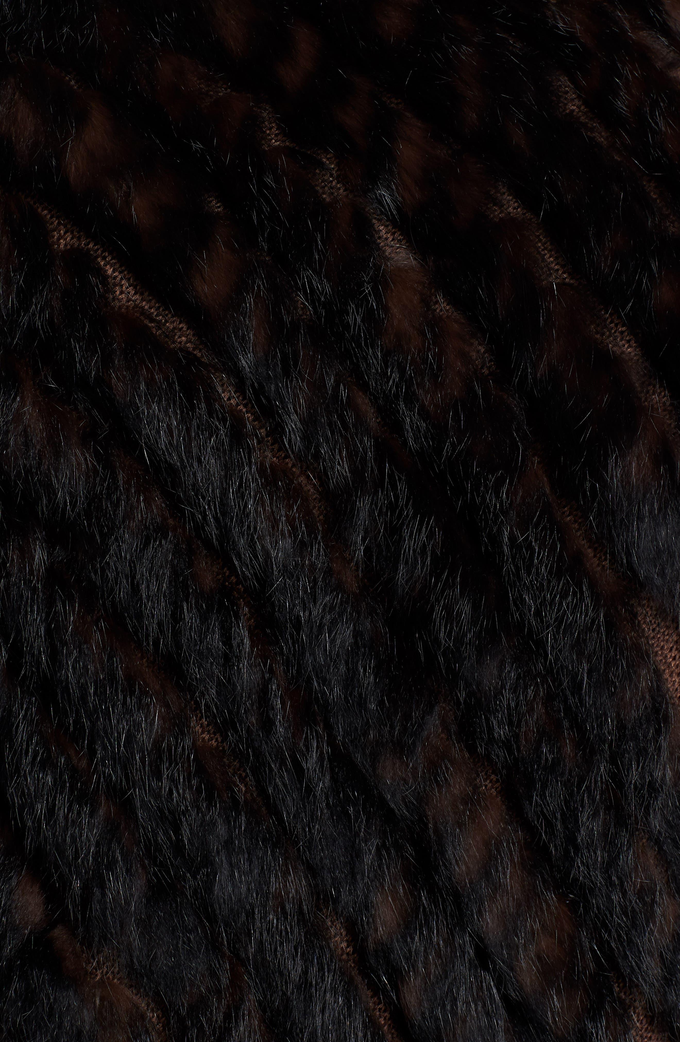 Genuine Rabbit Fur Poncho,                             Alternate thumbnail 5, color,                             BROWN