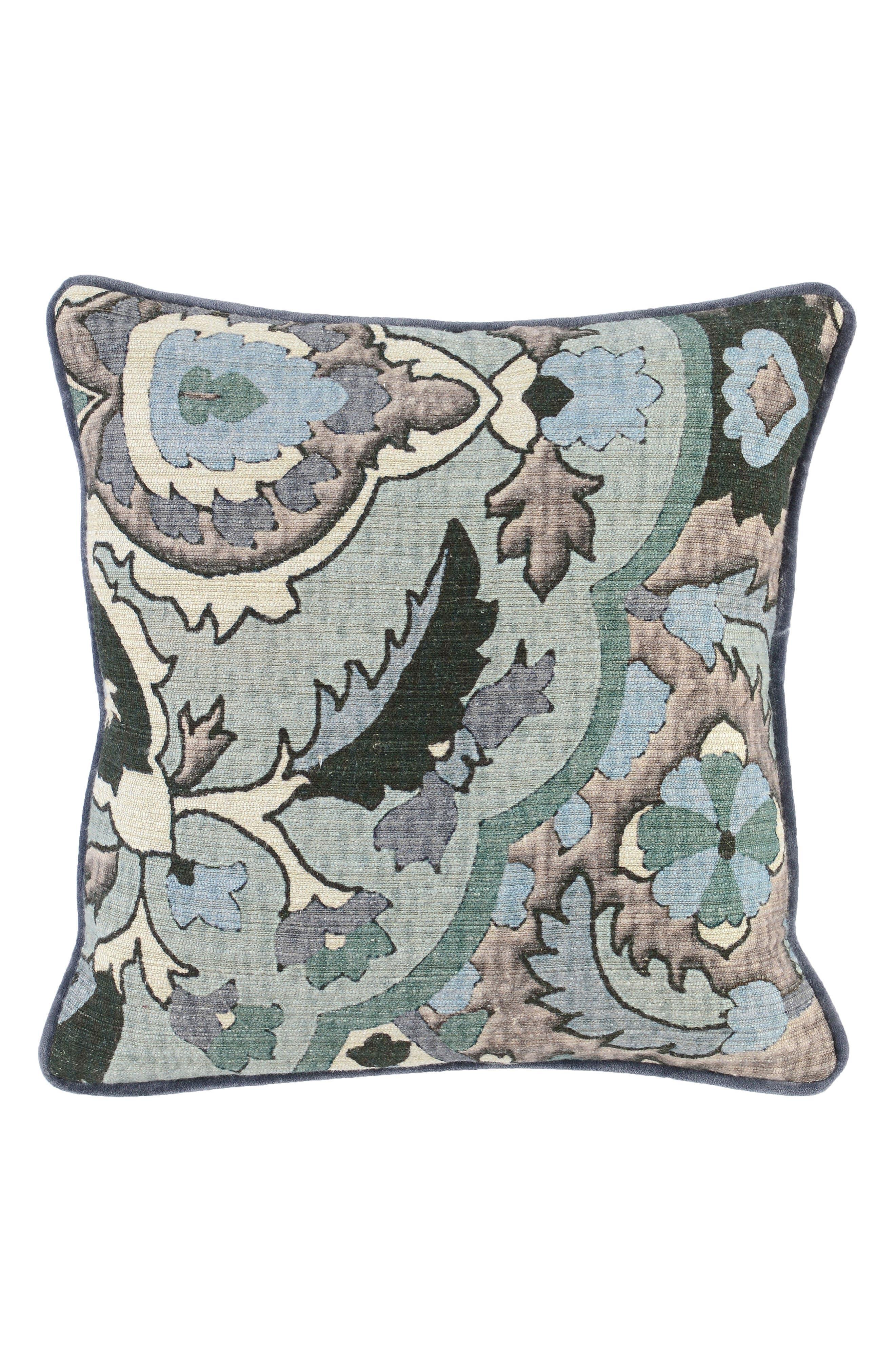 Micha Accent Pillow,                             Main thumbnail 1, color,                             GRAY/ GREEN