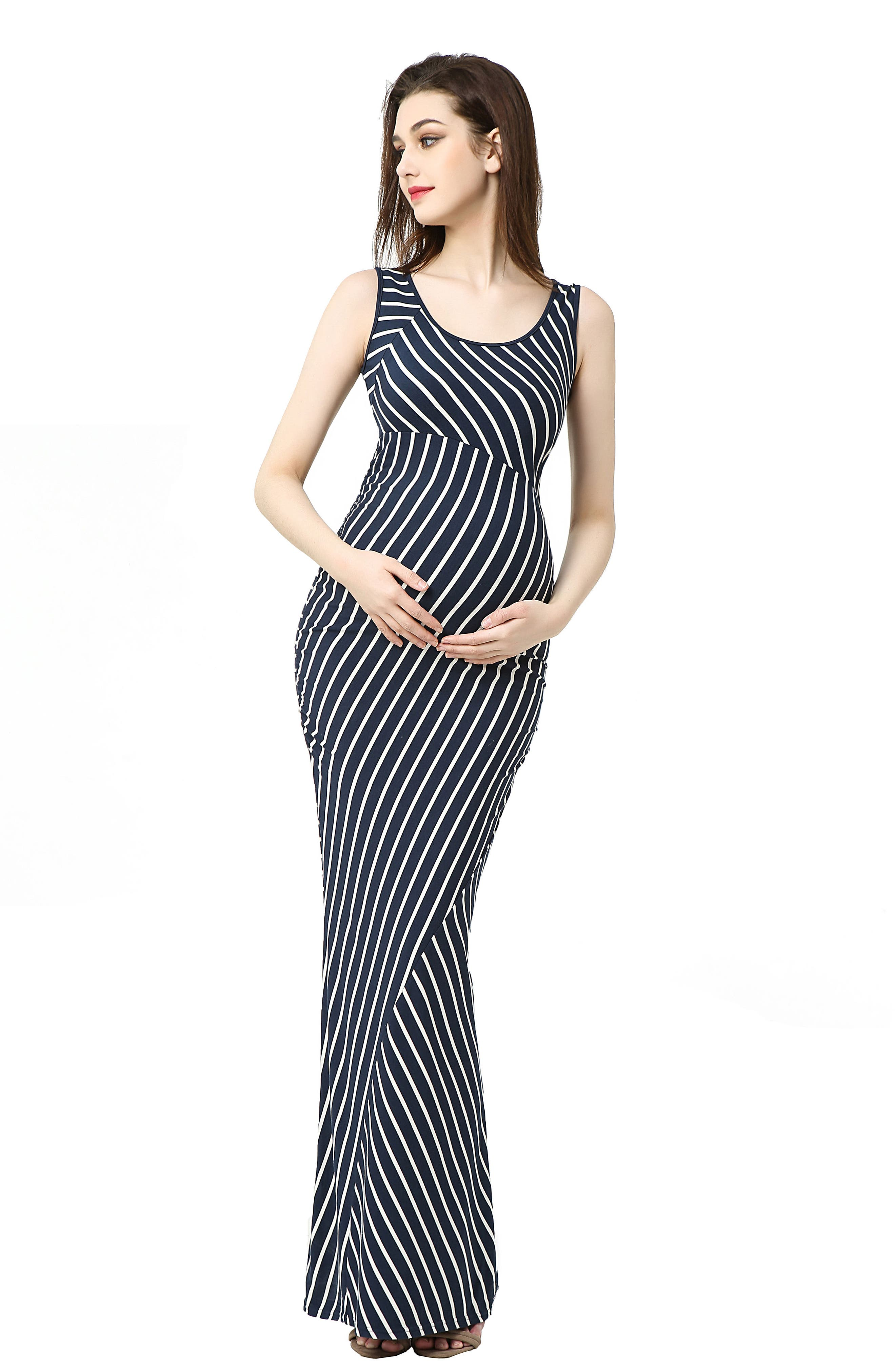 Peyton Stripe Maxi Maternity Dress,                             Alternate thumbnail 4, color,                             NAVY/ IVORY