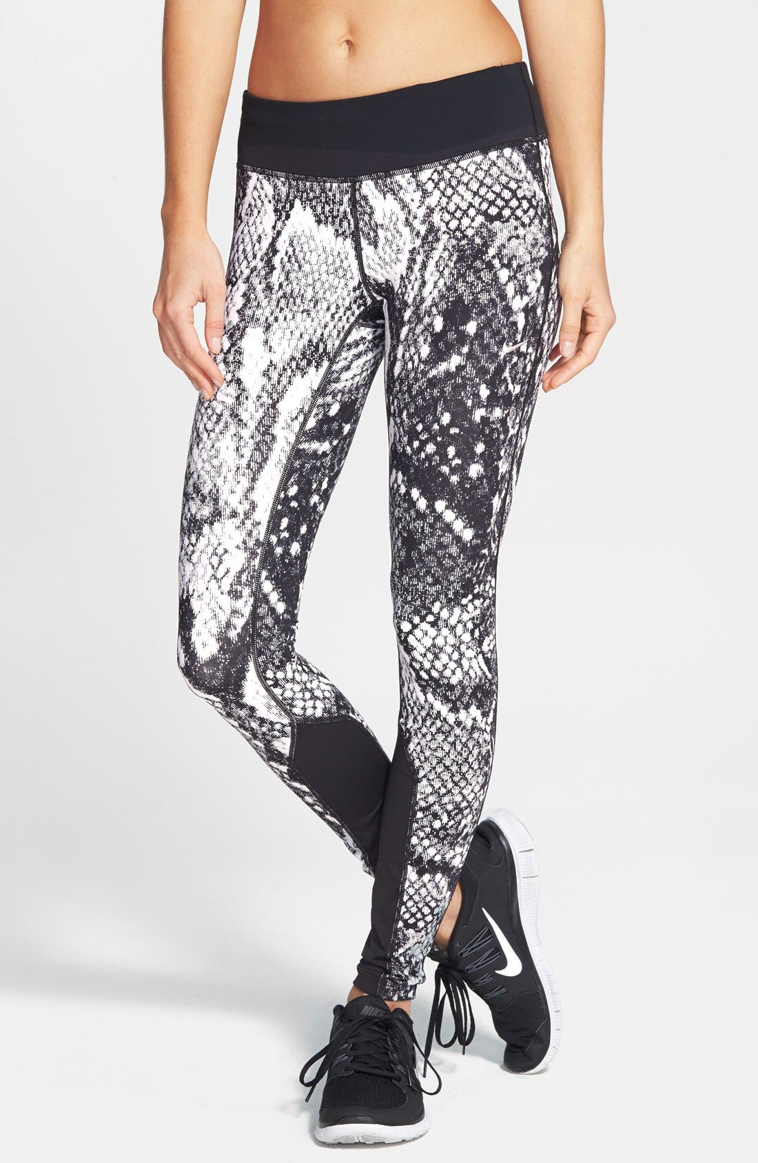 'Epic Lux' Snakeskin Print Running Tights,                             Main thumbnail 1, color,