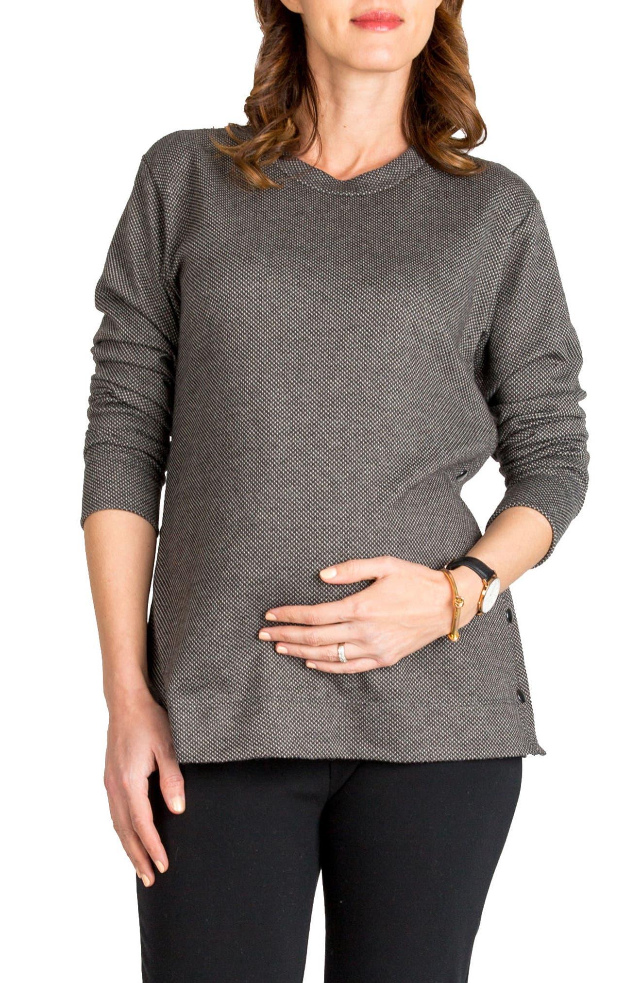 NOM MATERNITY,                             Olivia Snap Side Maternity Sweater,                             Main thumbnail 1, color,                             020