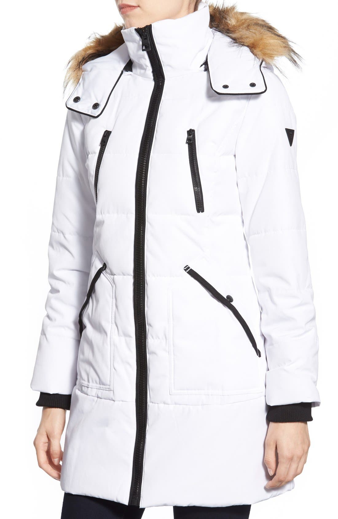 'Expedition' Quilted Parka with Faux Fur Trim,                             Alternate thumbnail 9, color,