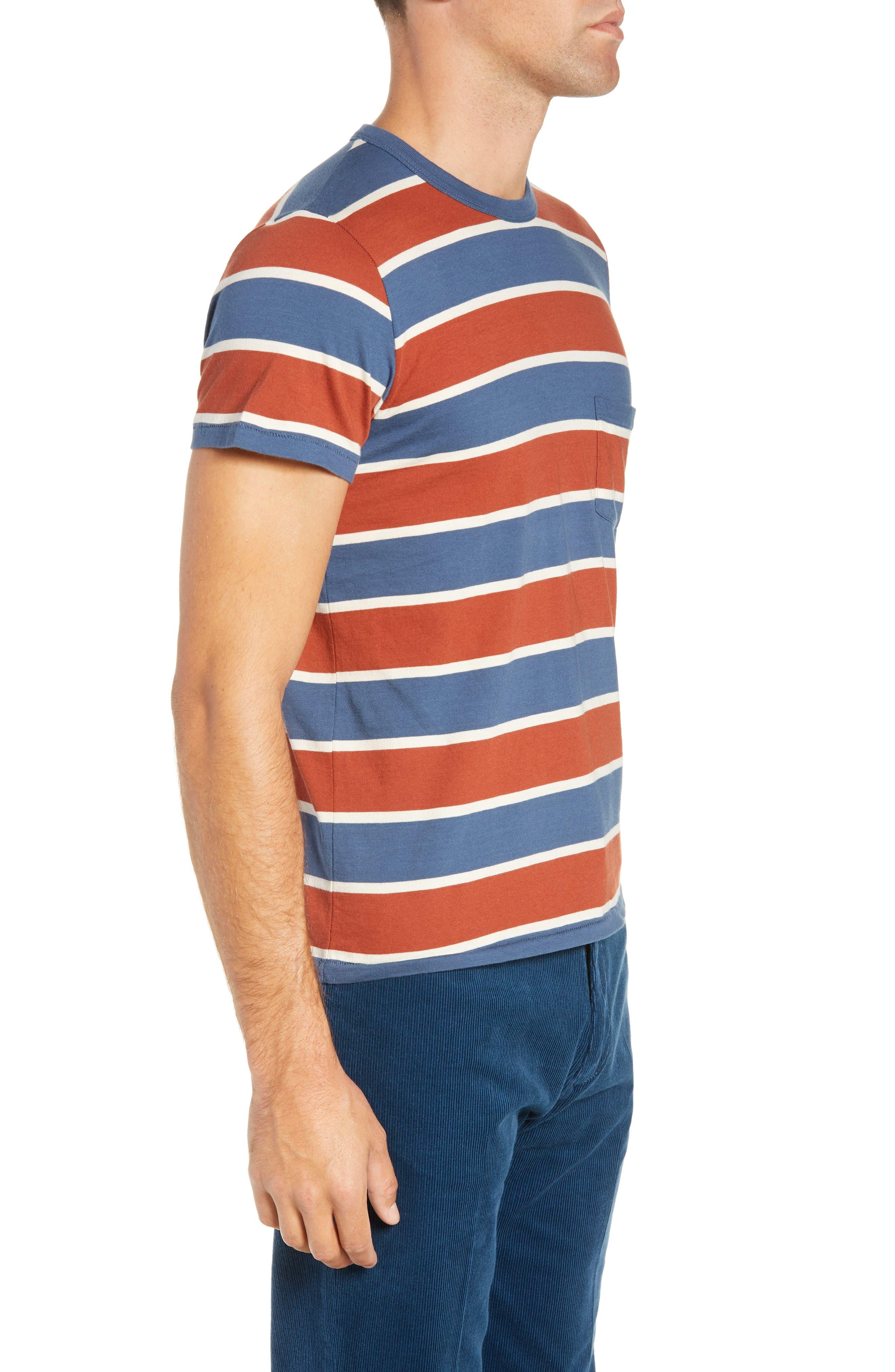 1960s Slim Fit Stripe T-Shirt,                             Alternate thumbnail 3, color,                             DARK DENIM MULTI STRIPE