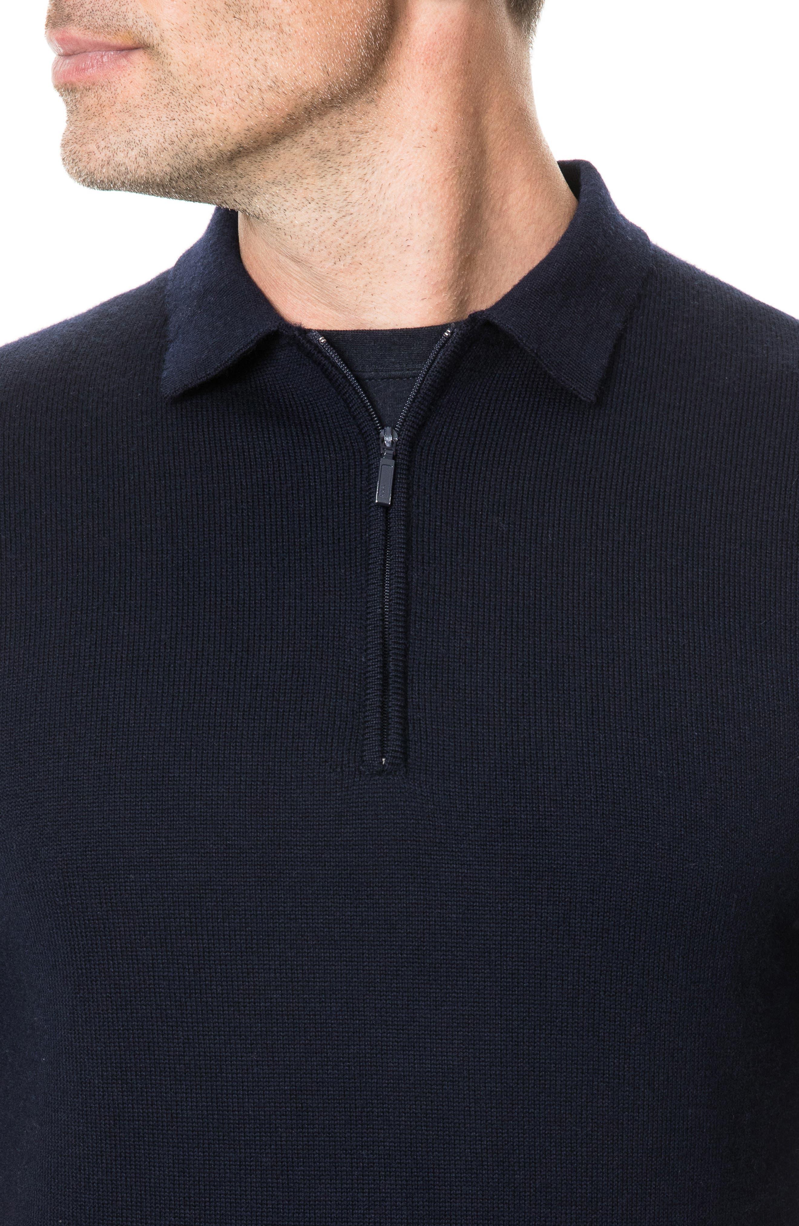 Revill Reserve Merino Wool Zip Polo,                             Alternate thumbnail 4, color,                             MARINE