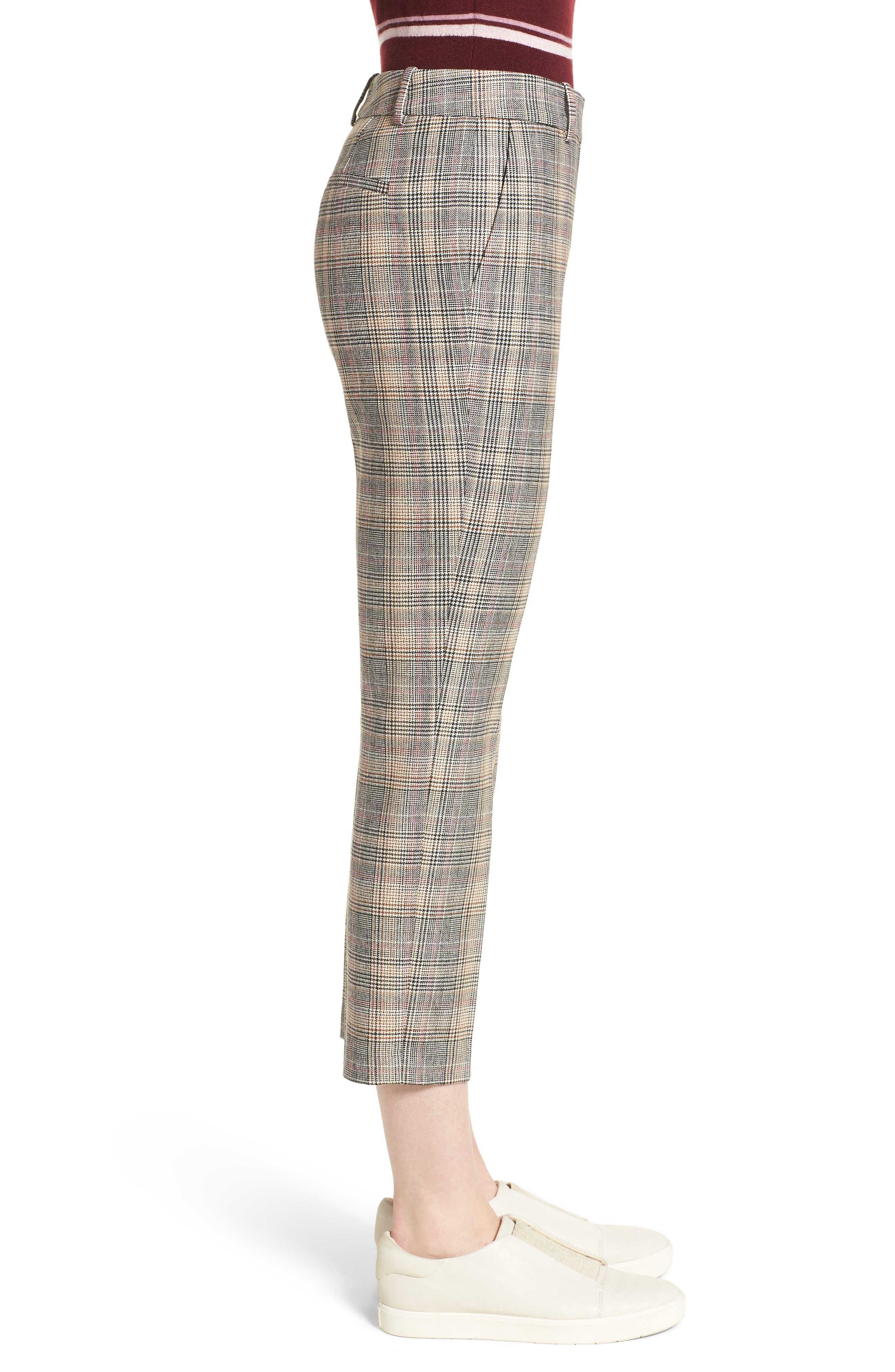 Plaid Slim Leg Crop Pants,                             Alternate thumbnail 3, color,                             001