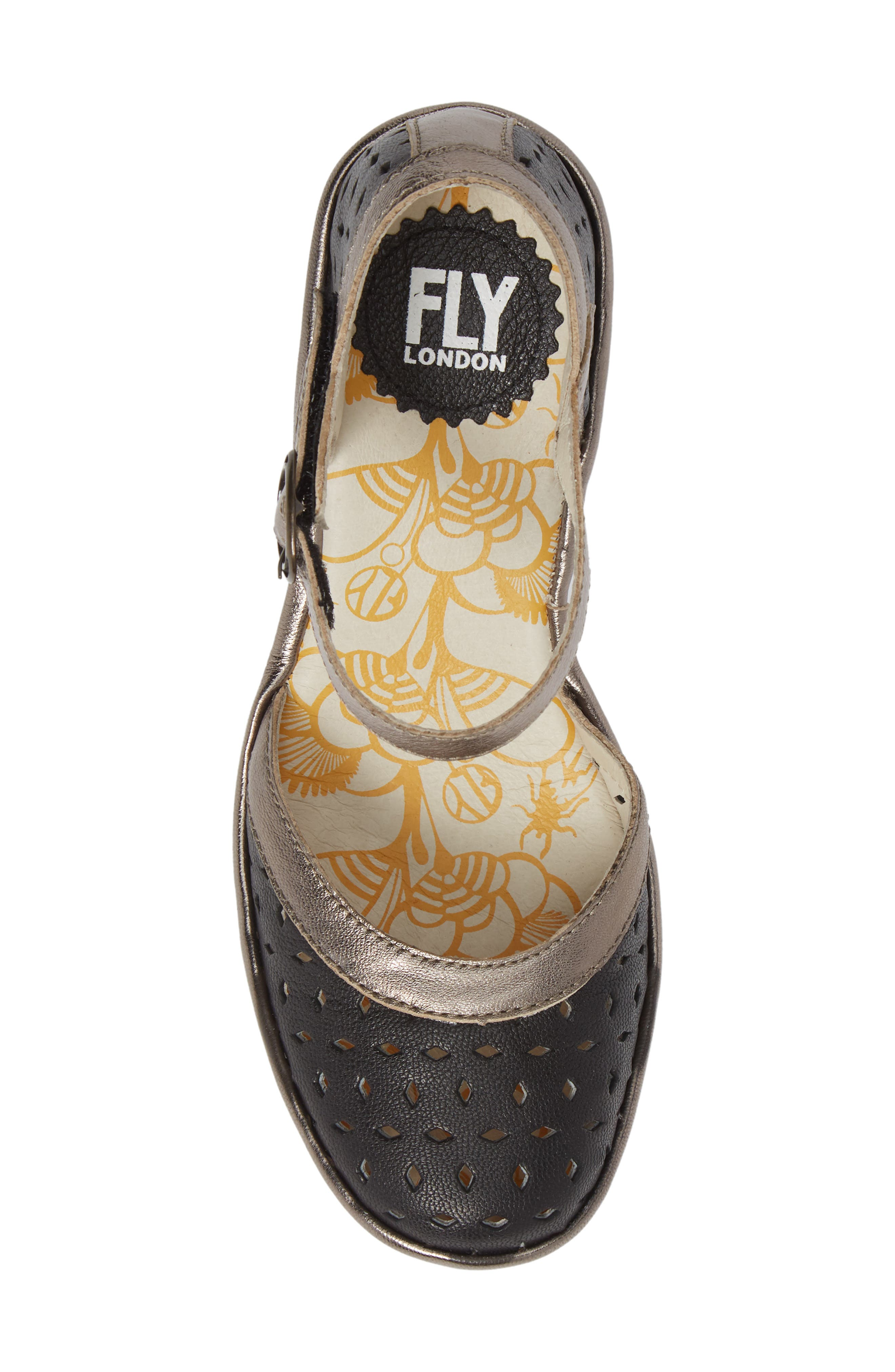 FLY LONDON,                             Yven Wedge,                             Alternate thumbnail 5, color,                             BLACK/ BRONZE LEATHER
