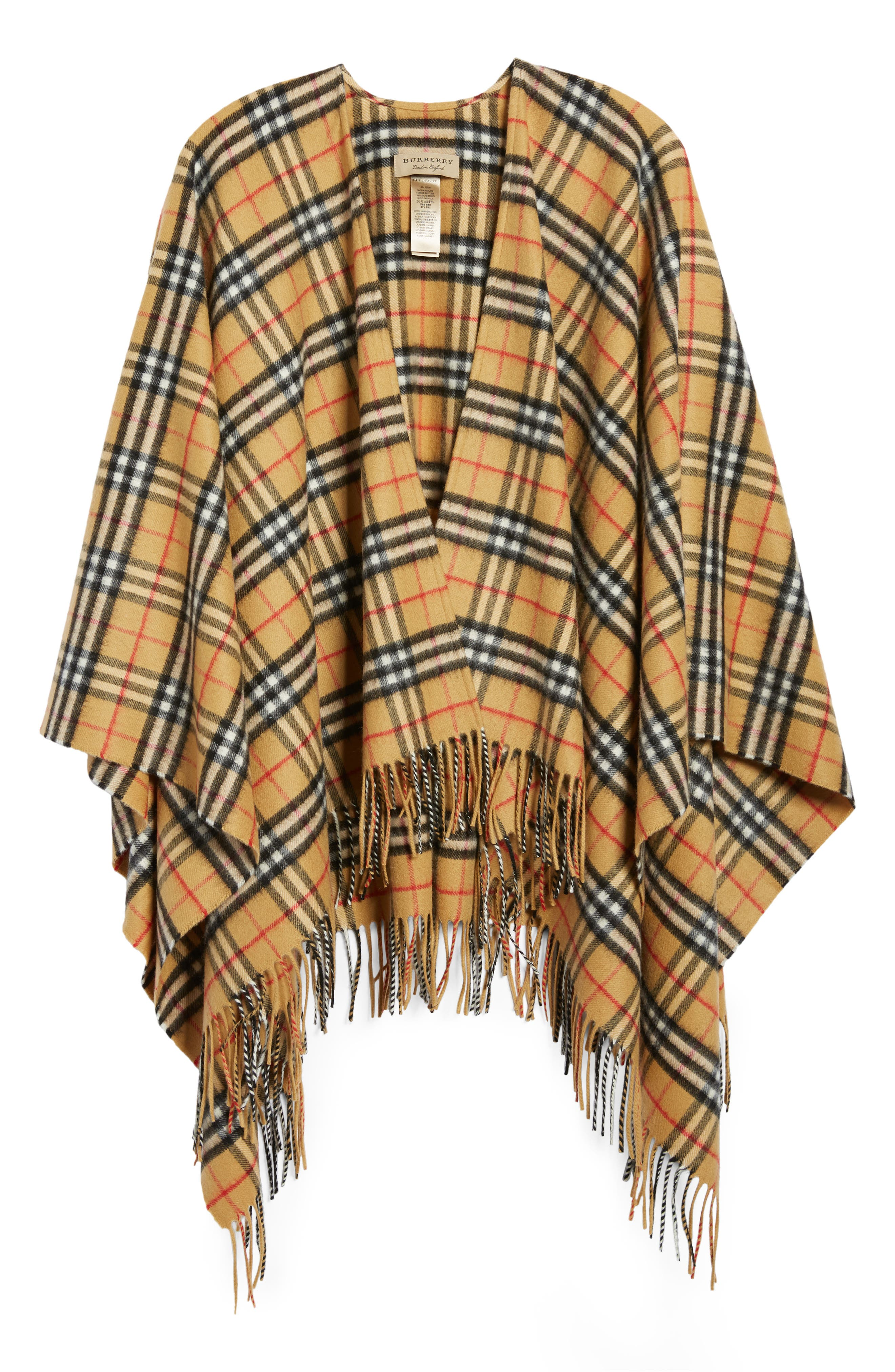 Vintage Check Cashmere & Wool Cape,                             Alternate thumbnail 6, color,                             ANTIQUE YELLOW
