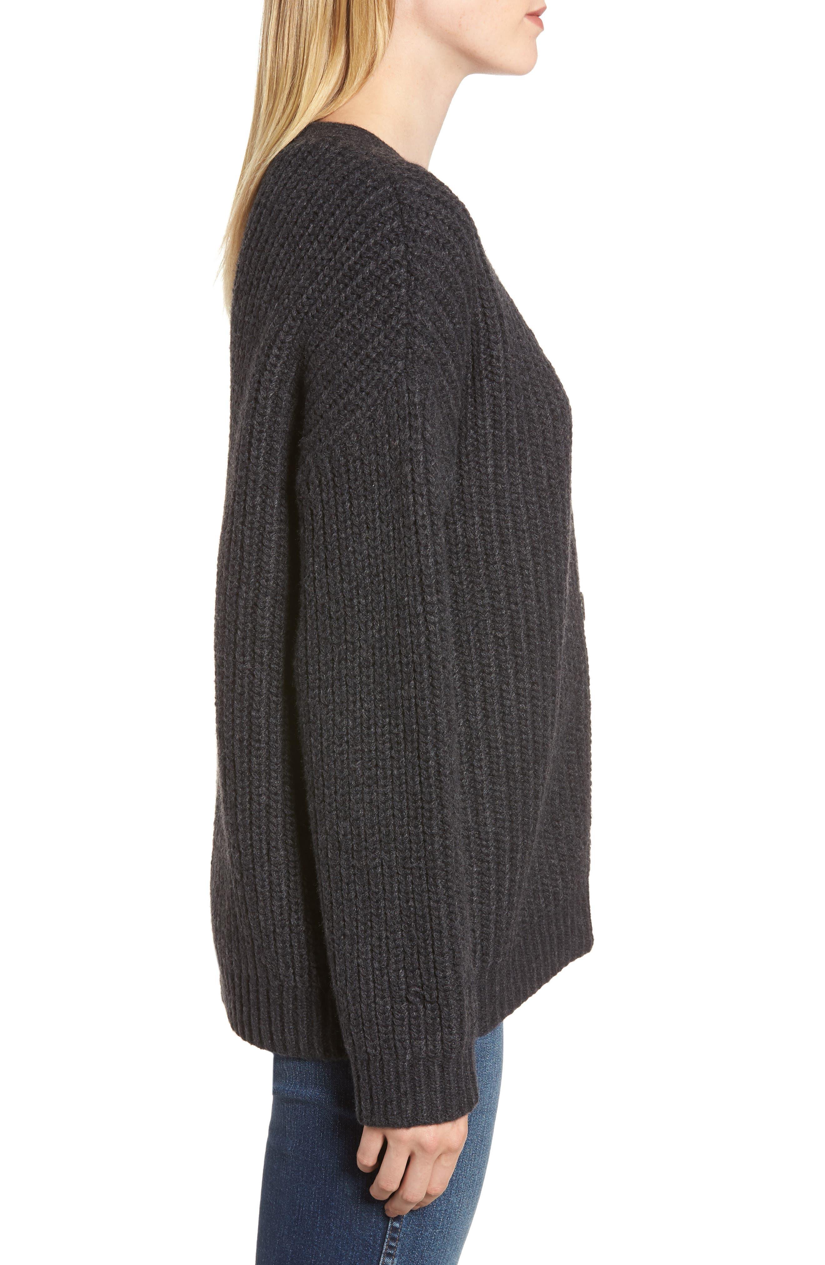 Chunky Wool Alpaca Shaker Cardigan,                             Alternate thumbnail 3, color,                             025