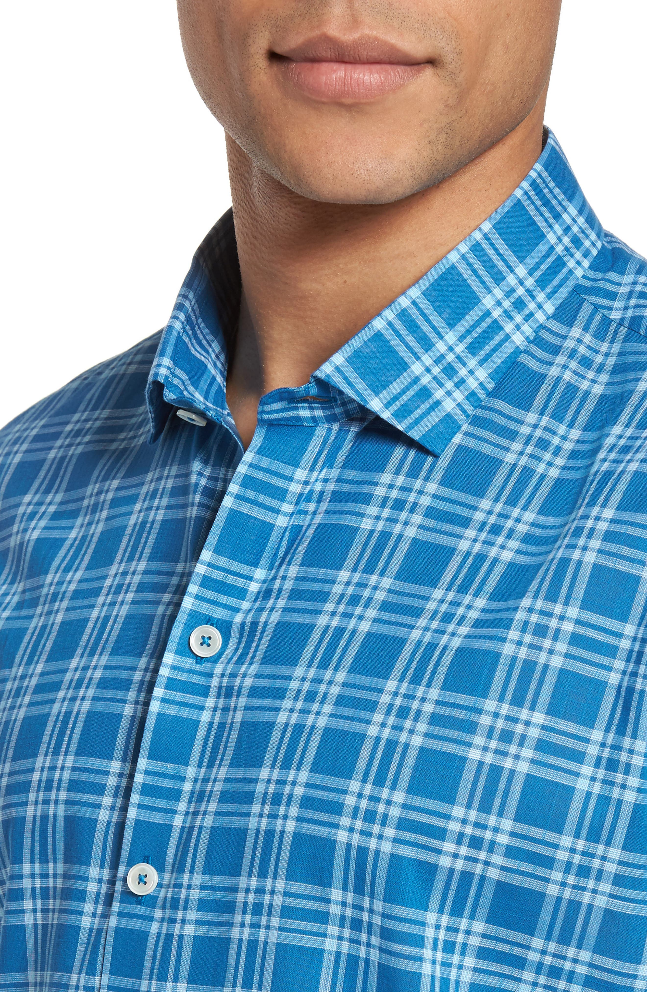 Kirchner Plaid Sport Shirt,                             Alternate thumbnail 4, color,                             460