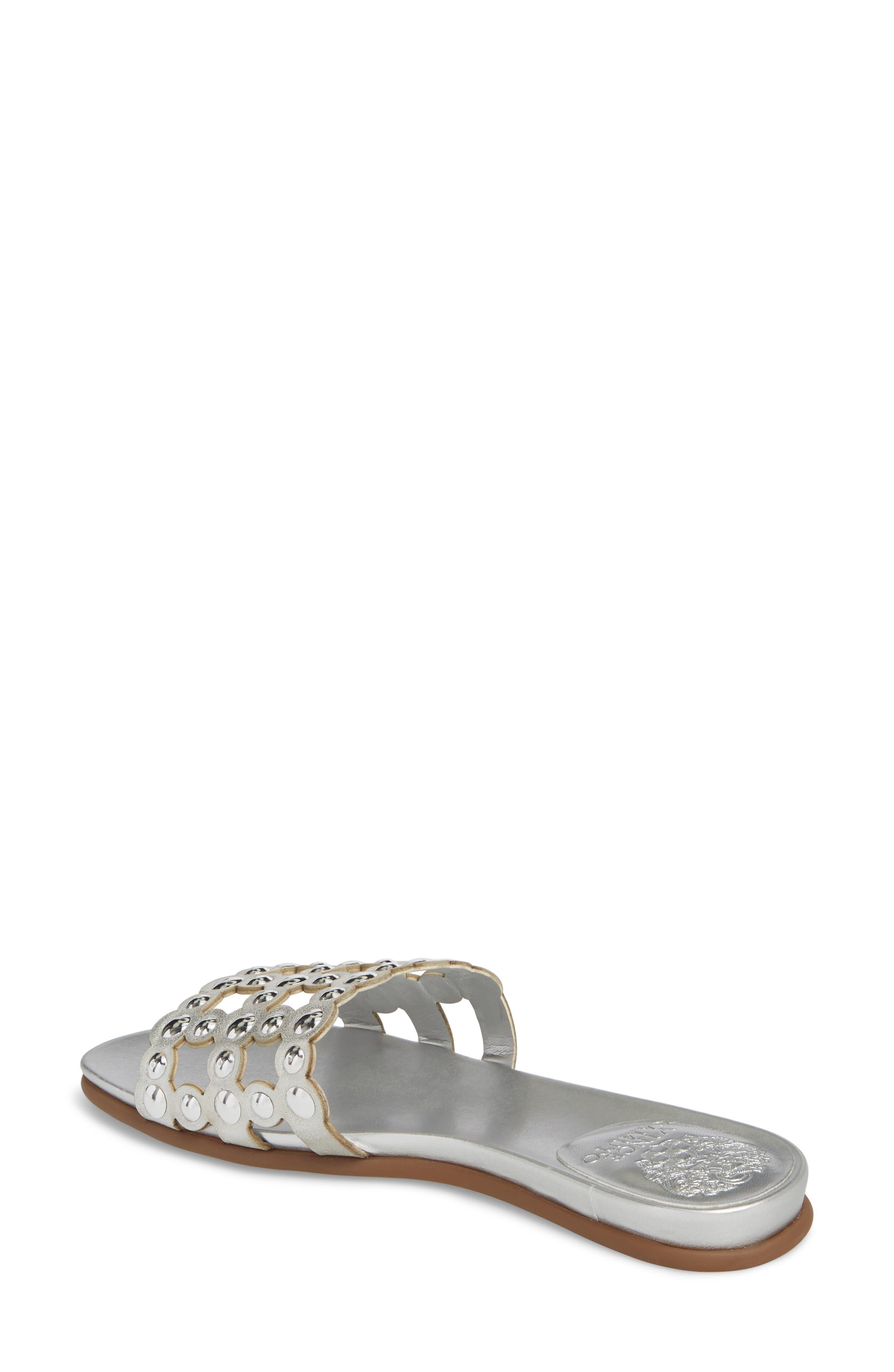 Ellanna Studded Slide Sandal,                             Alternate thumbnail 2, color,                             GLEAMING SILVER LEATHER