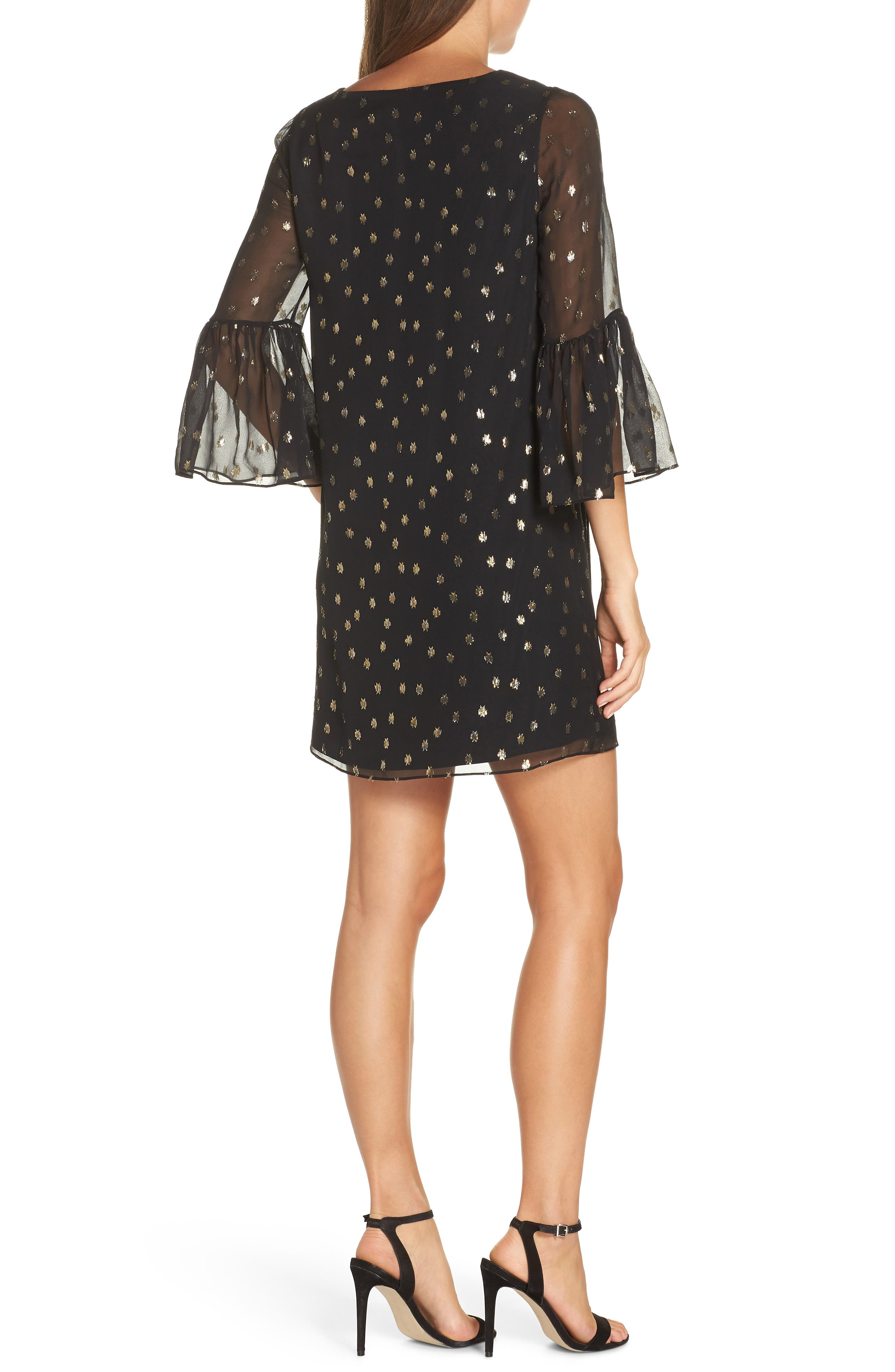 LILLY PULITZER<SUP>®</SUP>,                             Caroline Chiffon Tunic Dress,                             Alternate thumbnail 2, color,                             ONYX STARRY CLIP CHIFFON