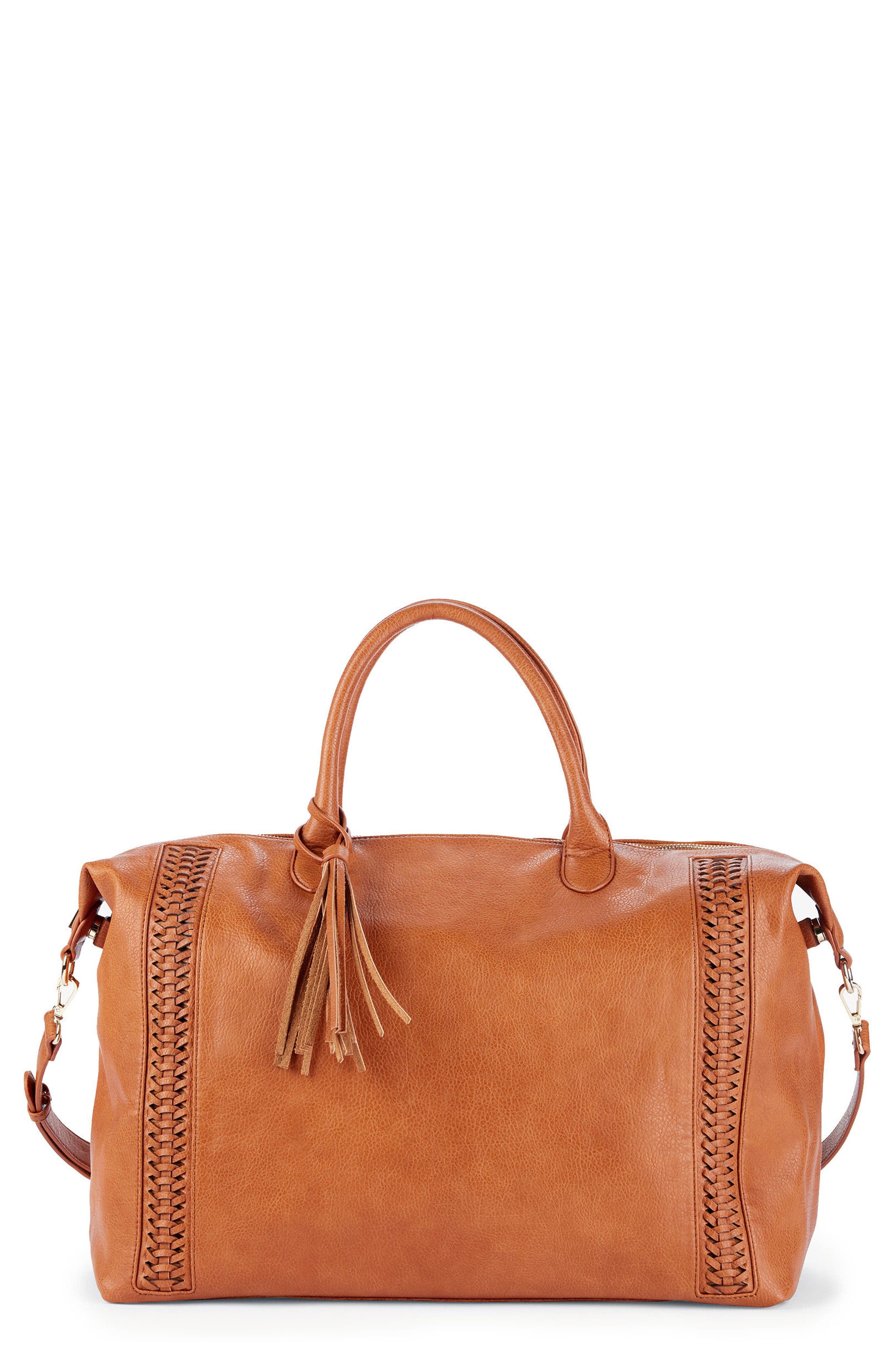 Tara Whipstitched Faux Leather Weekend Bag,                             Main thumbnail 2, color,