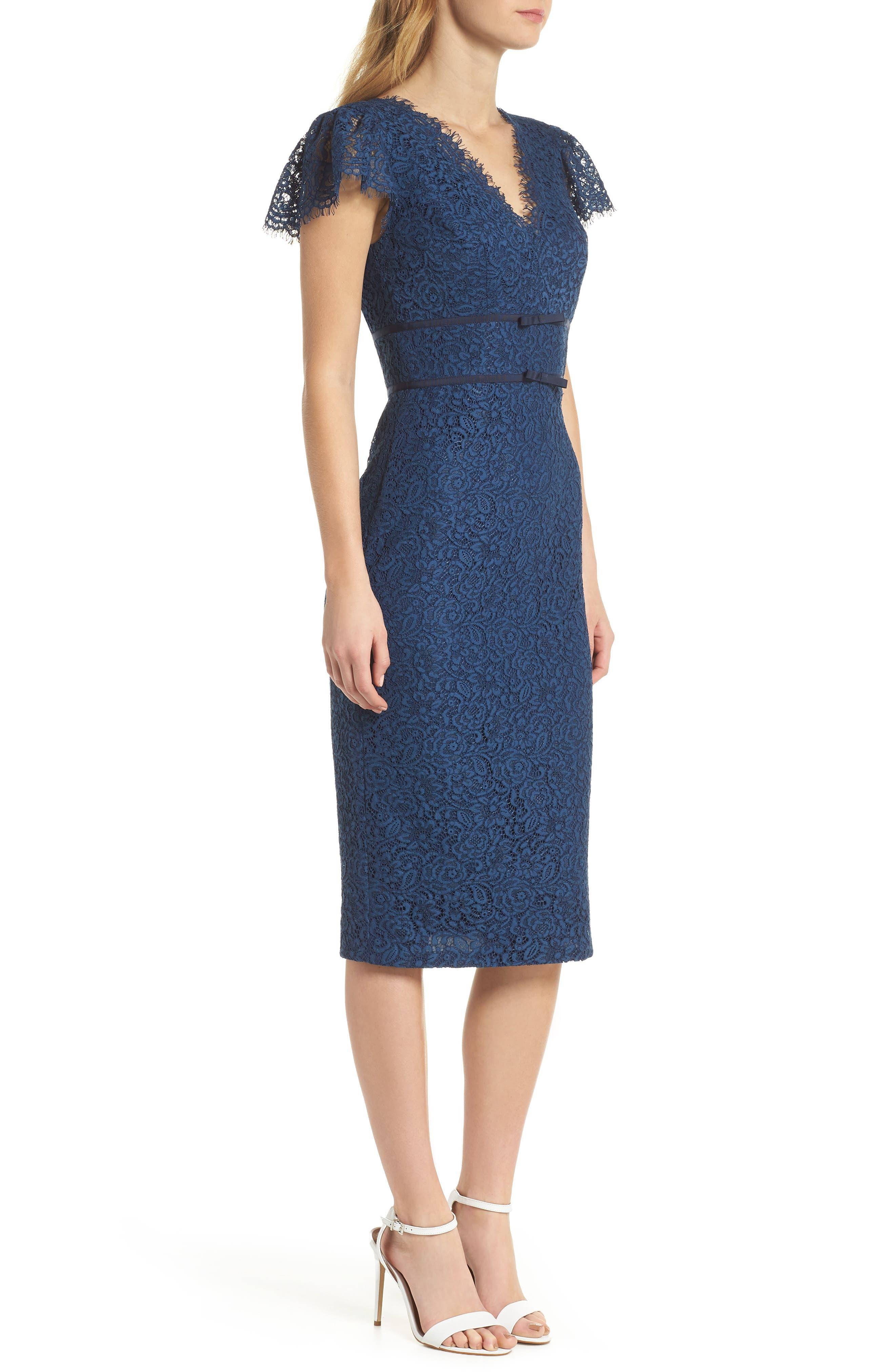Ginger Rosebud Lace Sheath Dress,                             Alternate thumbnail 3, color,                             462