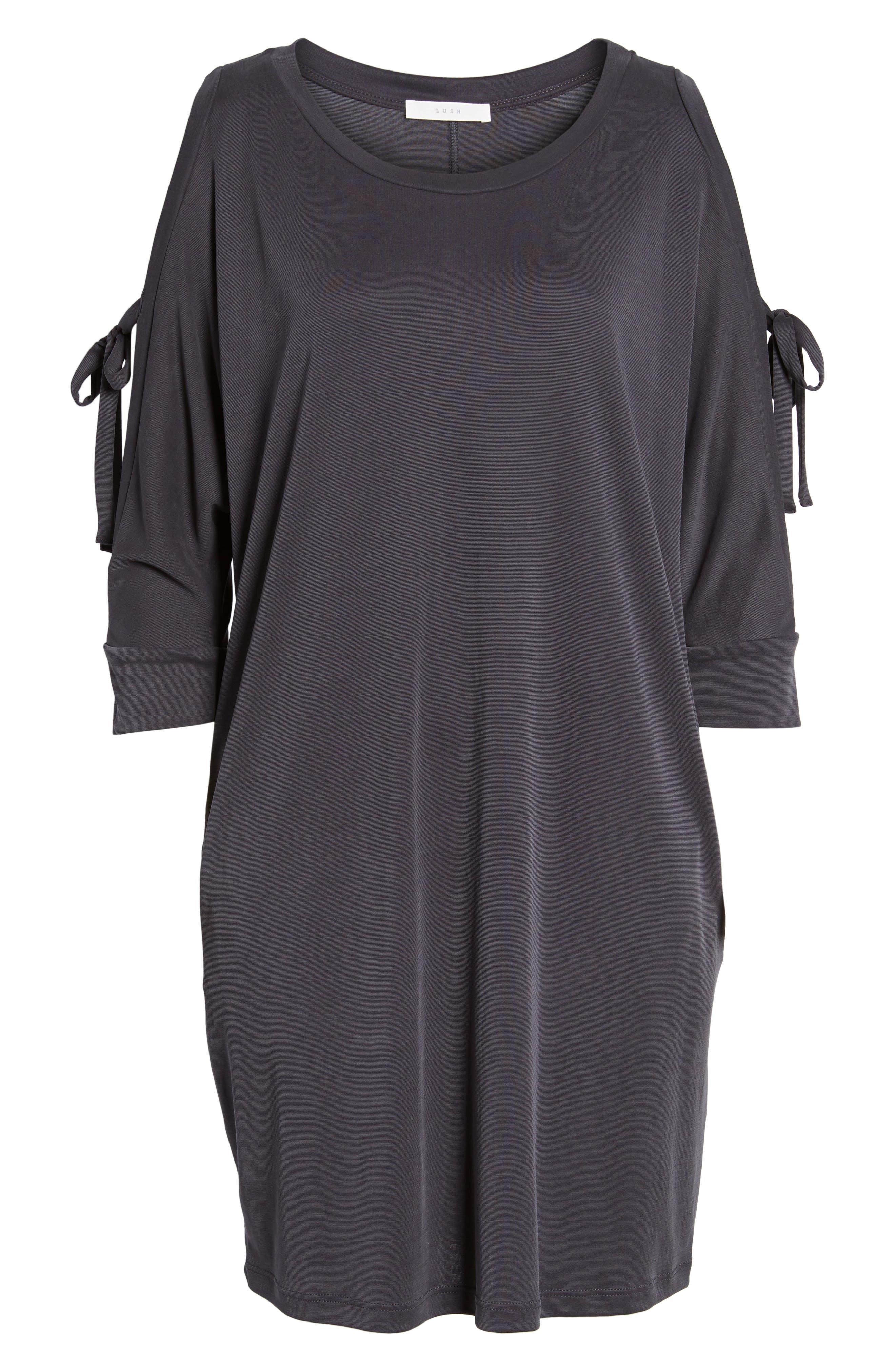 Tied Cold Shoulder Dress,                             Alternate thumbnail 6, color,