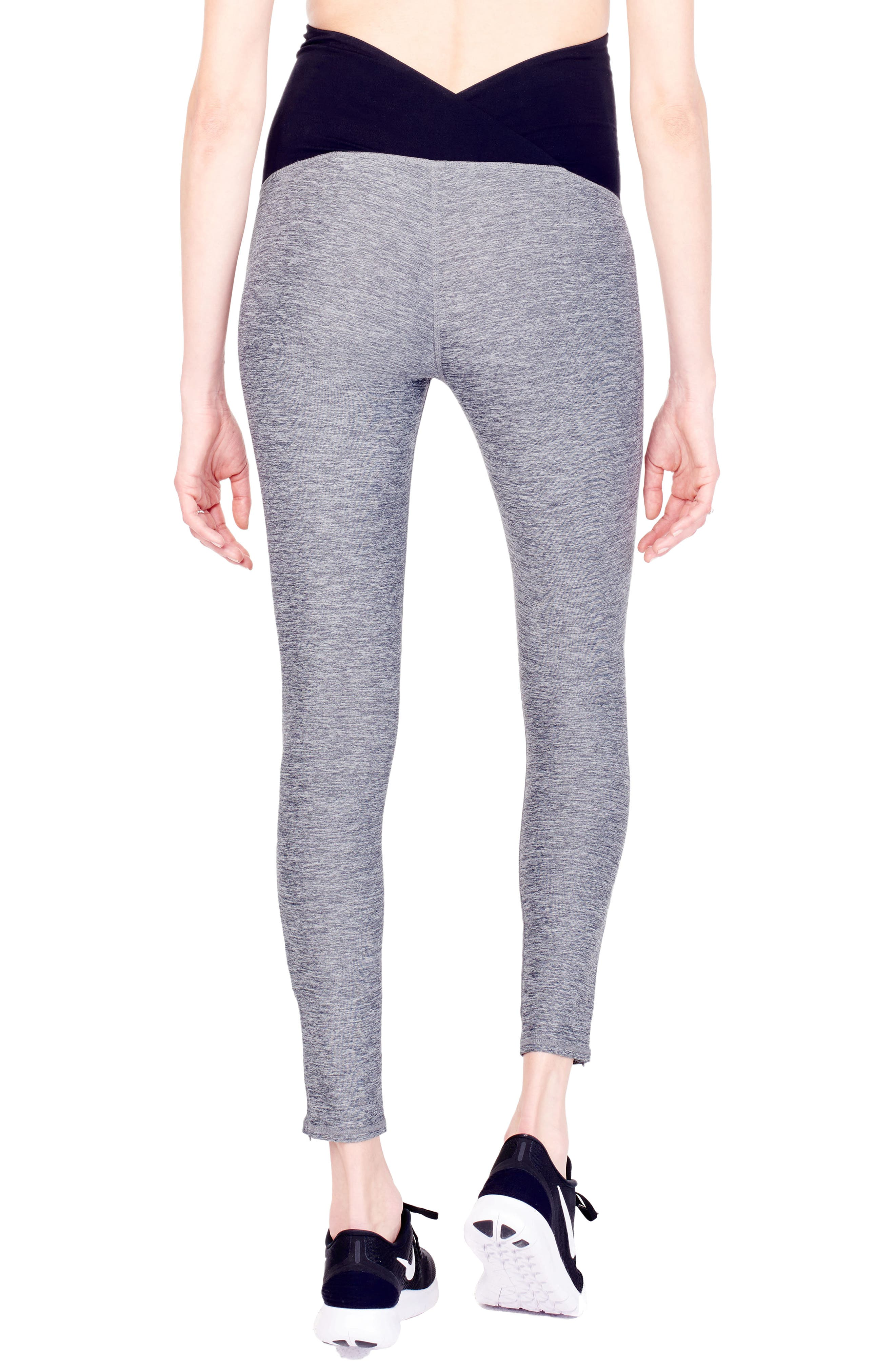 'Active' Maternity Leggings with Crossover Panel,                             Alternate thumbnail 6, color,