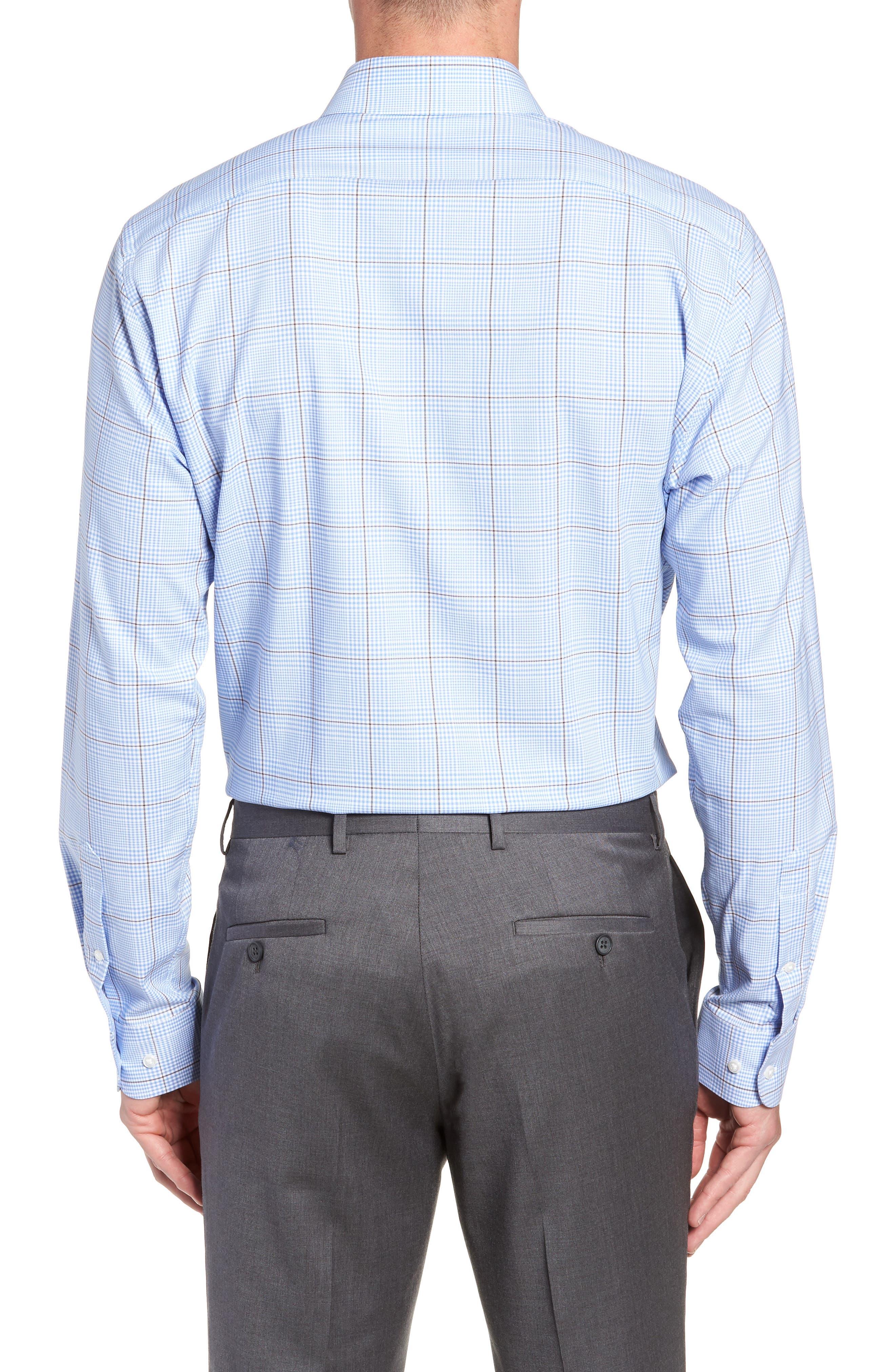 Tech-Smart Trim Fit Stretch Plaid Dress Shirt,                             Alternate thumbnail 3, color,                             BLUE HAZE