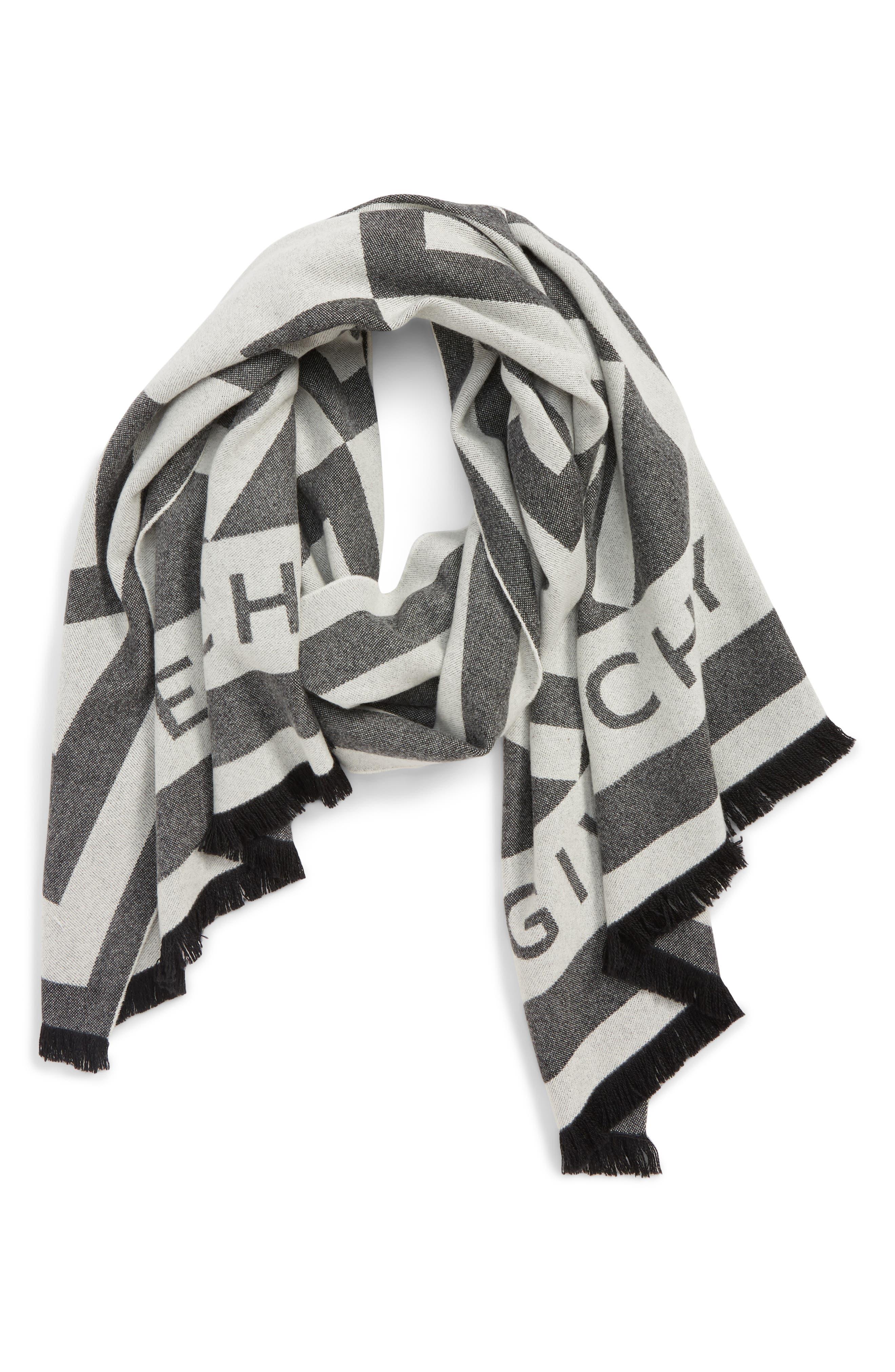 GIVENCHY,                             Nouveau G Wool & Cashmere Scarf,                             Main thumbnail 1, color,                             BLACK/ WHITE