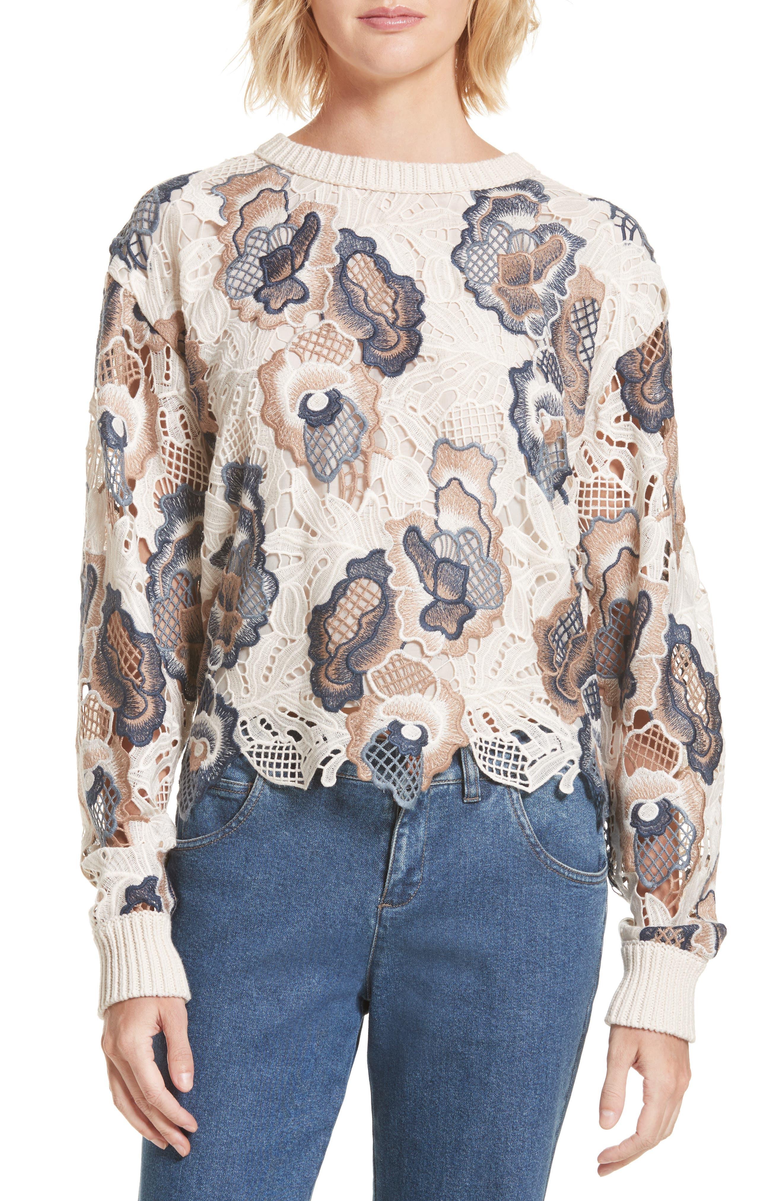 Floral Lace Sweater,                             Main thumbnail 1, color,                             160