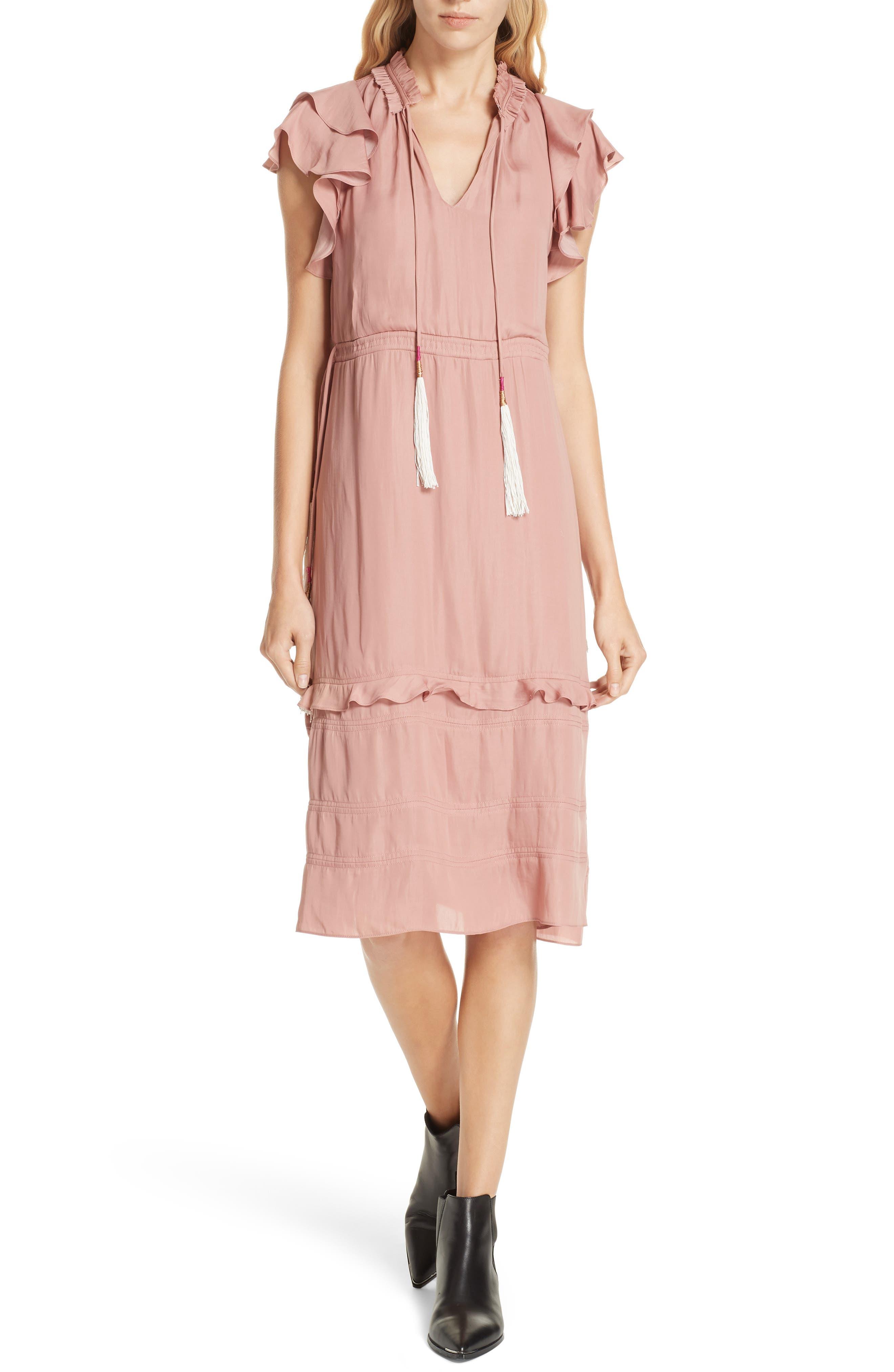 70s Dresses – Disco Dresses, Hippie Dresses, Wrap Dresses Womens Dolan Tassel Tie Midi Dress Size Medium - Pink $198.00 AT vintagedancer.com