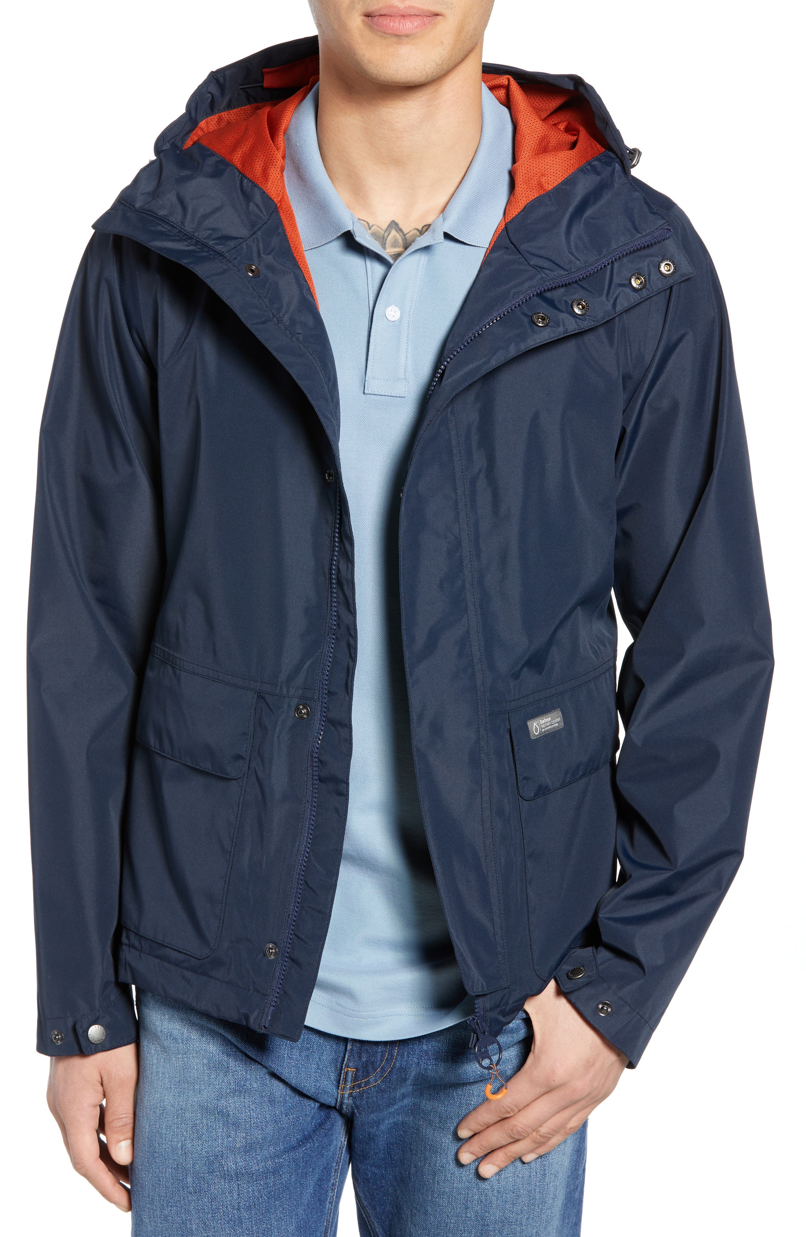 Barbour Foxtrot Waterproof Hooded Jacket, Blue