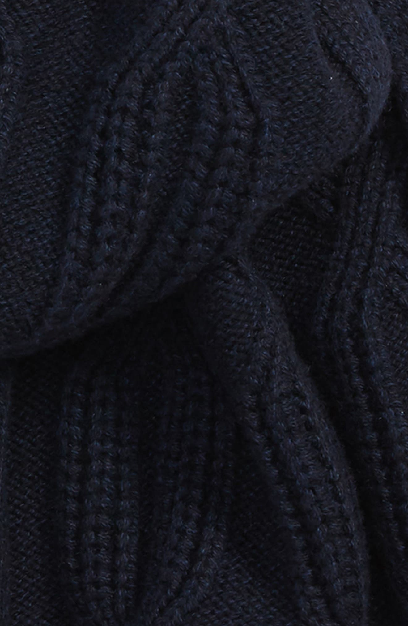 Cable Knit Scarf,                             Alternate thumbnail 3, color,                             NAVY