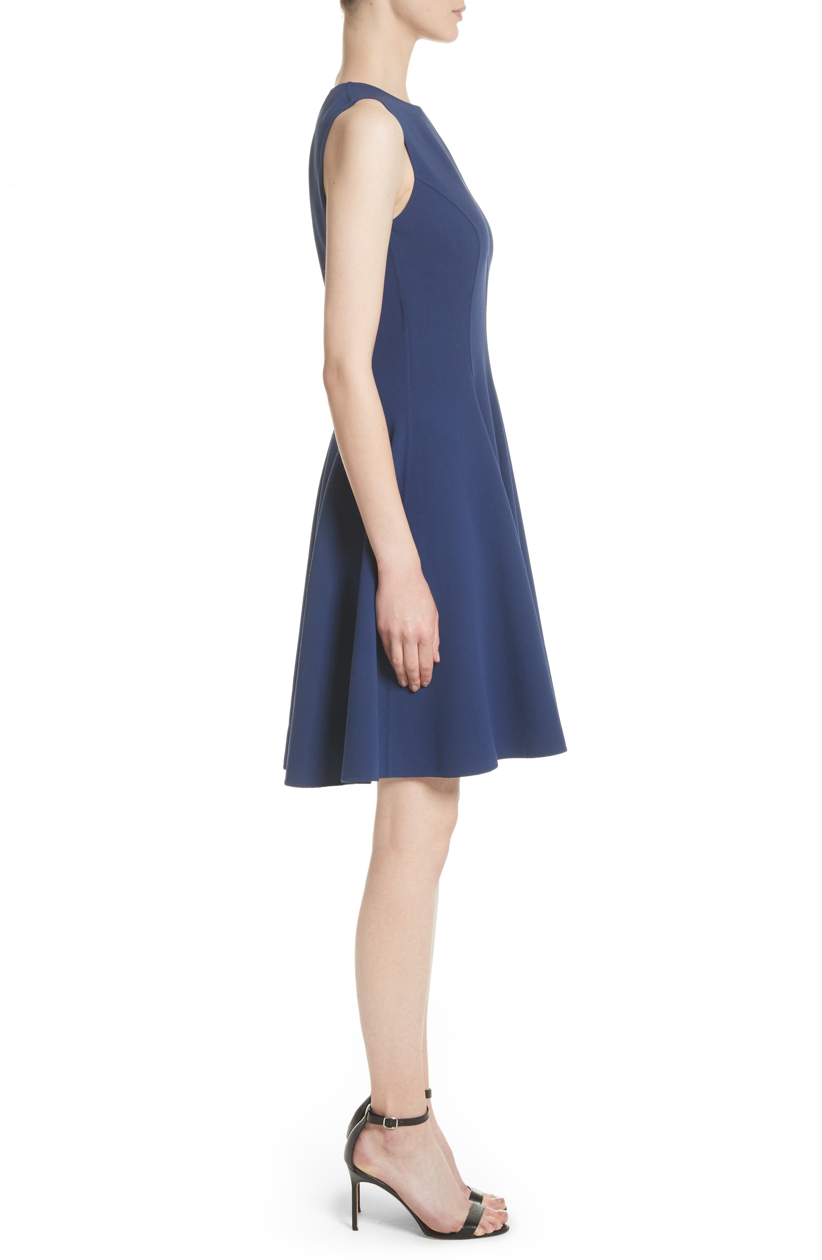 Stretch Wool Bell Dress,                             Alternate thumbnail 3, color,                             489