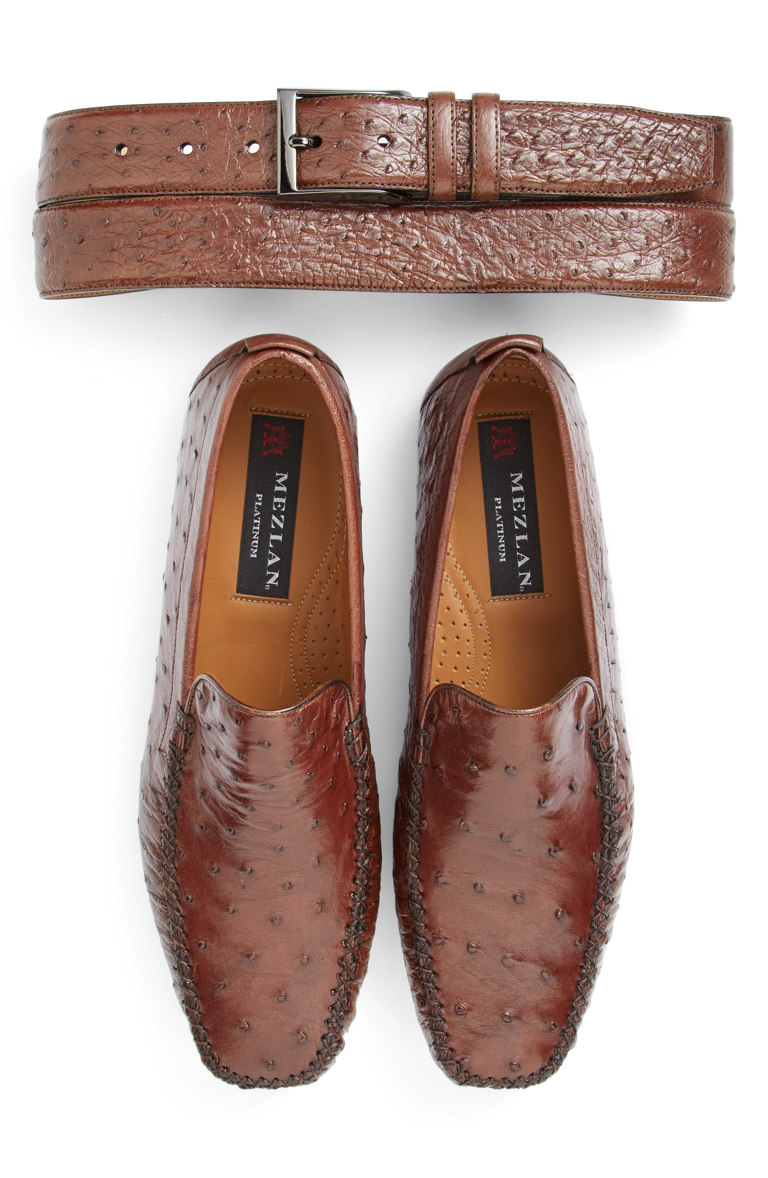 'Rollini' Ostrich Leather Loafer,                             Alternate thumbnail 2, color,                             TOBACCO