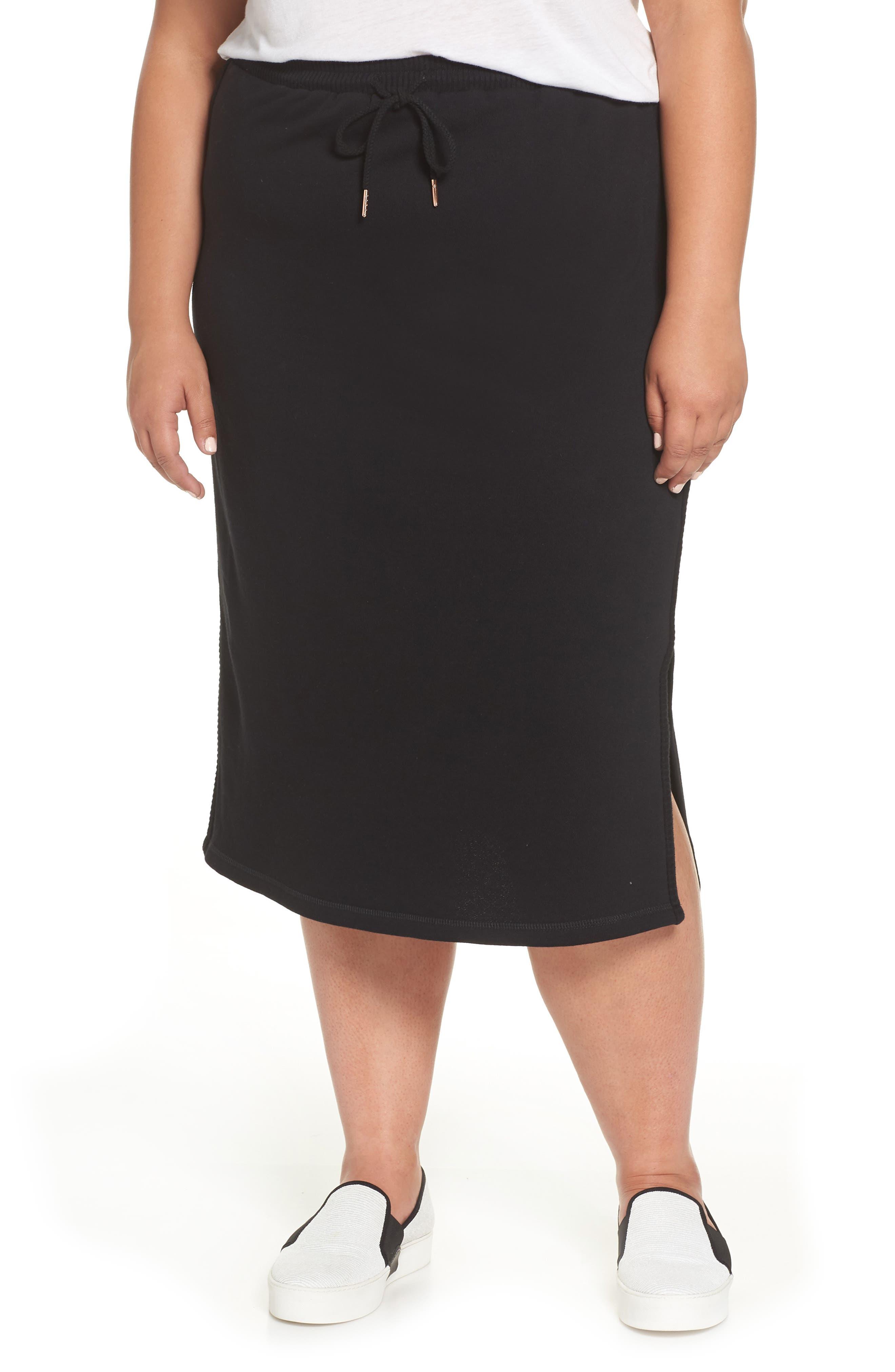 Ribbed Trim Midi Skirt,                         Main,                         color, 001