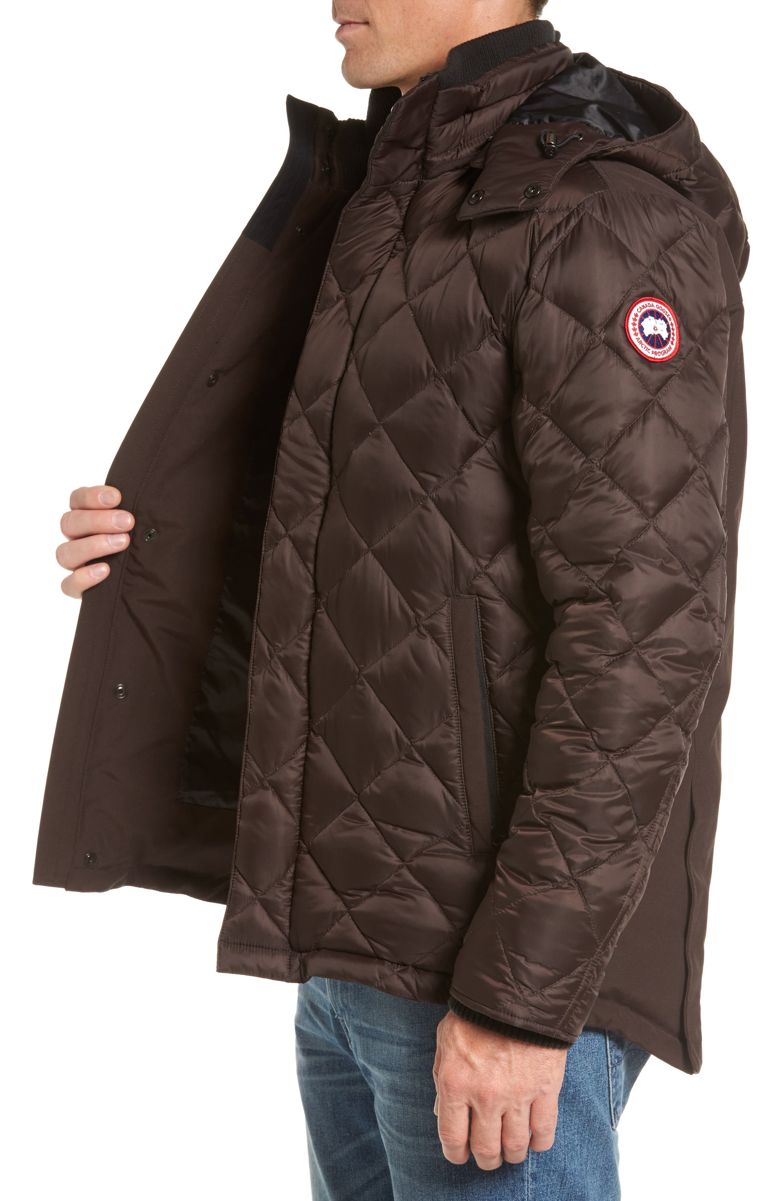 Hendriksen Quilted Down Coat,                             Alternate thumbnail 3, color,                             CHARRED WOOD