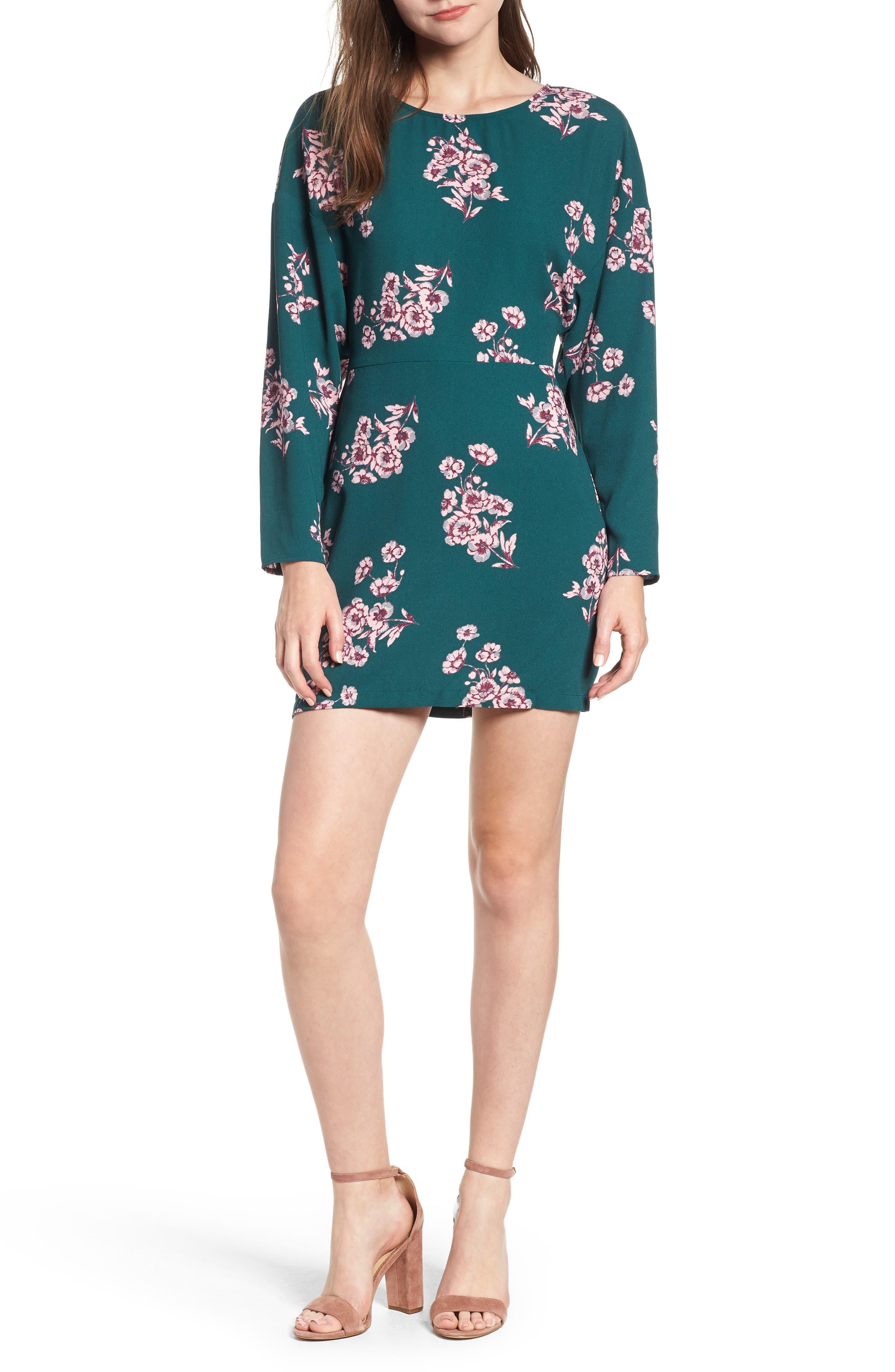 Leith Floral Minidress, Green