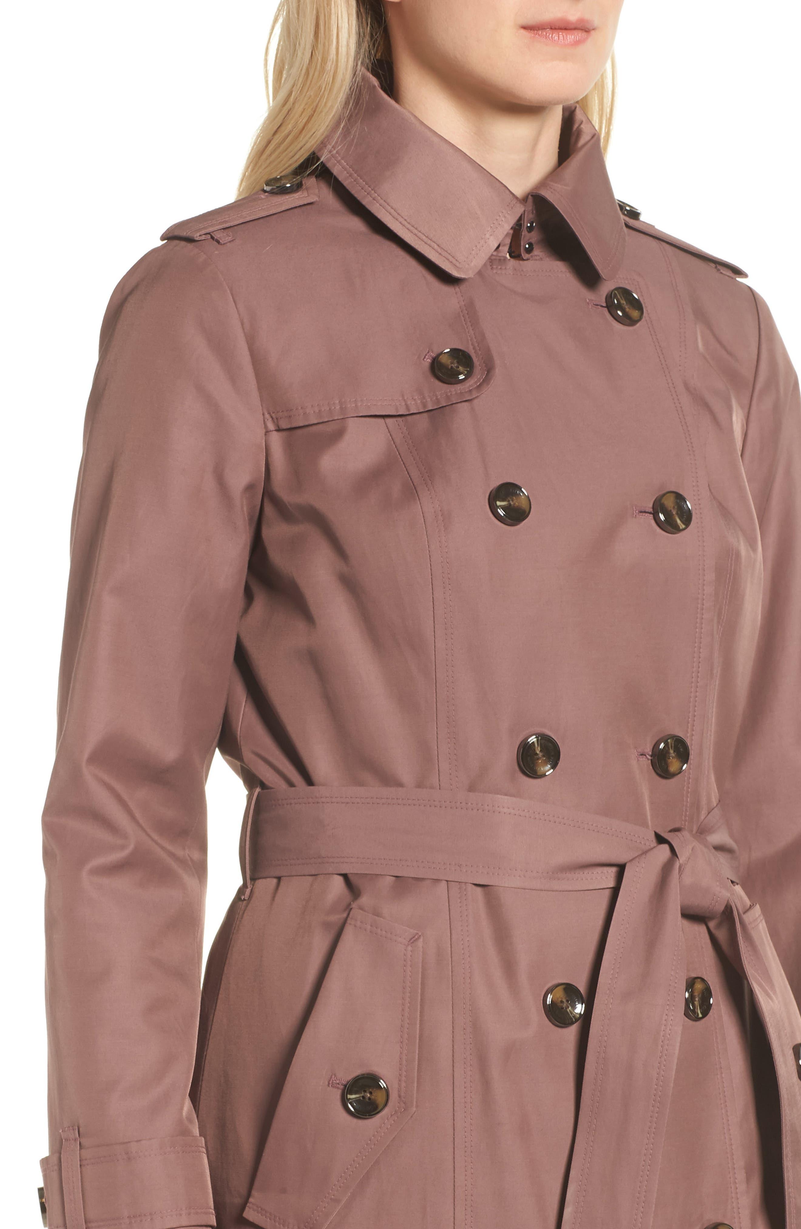 Knee Length Trench Coat,                             Alternate thumbnail 4, color,                             ADOBE