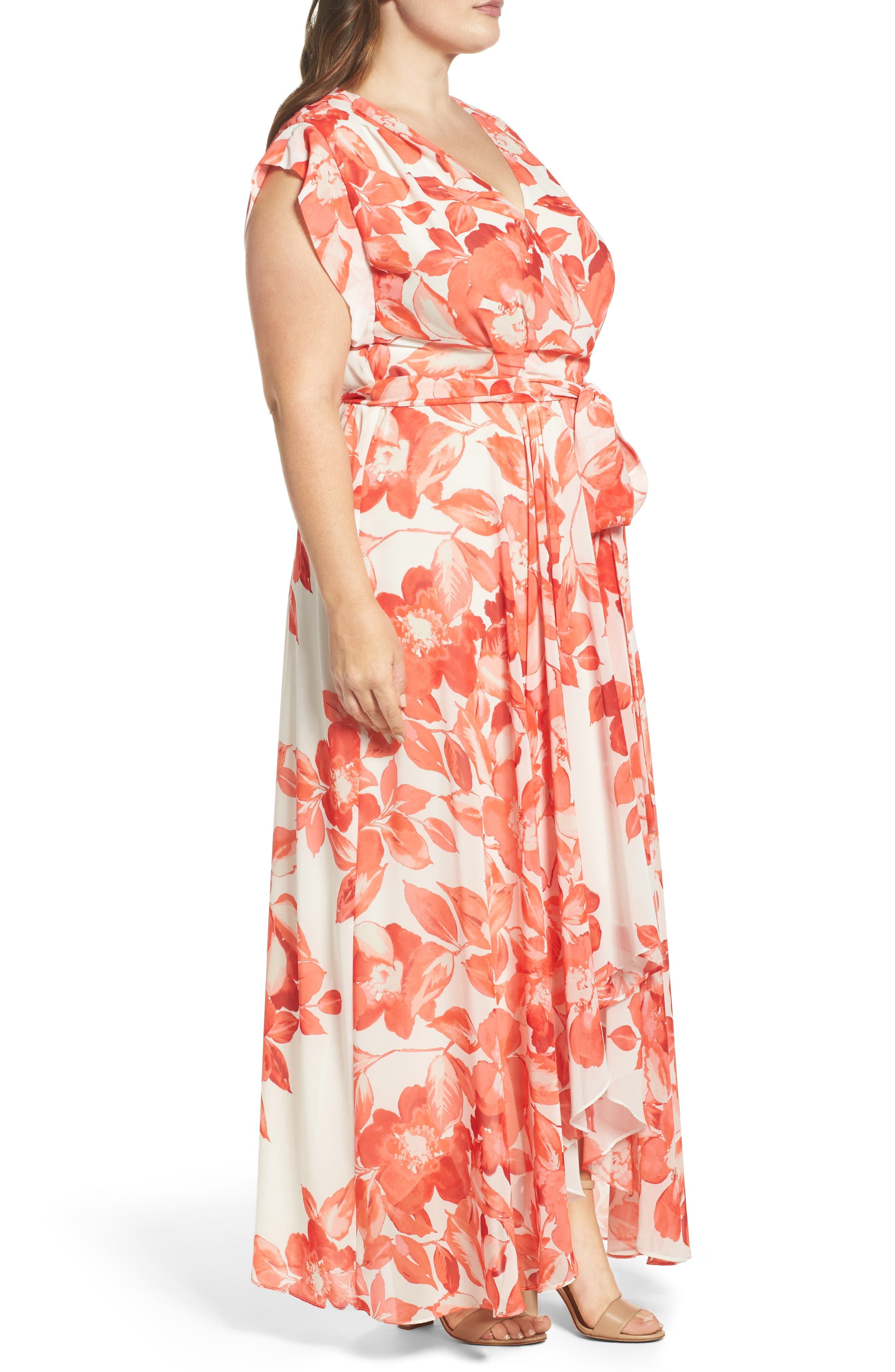 Floral Chiffon High/Low Maxi Dress,                             Alternate thumbnail 3, color,                             CORAL