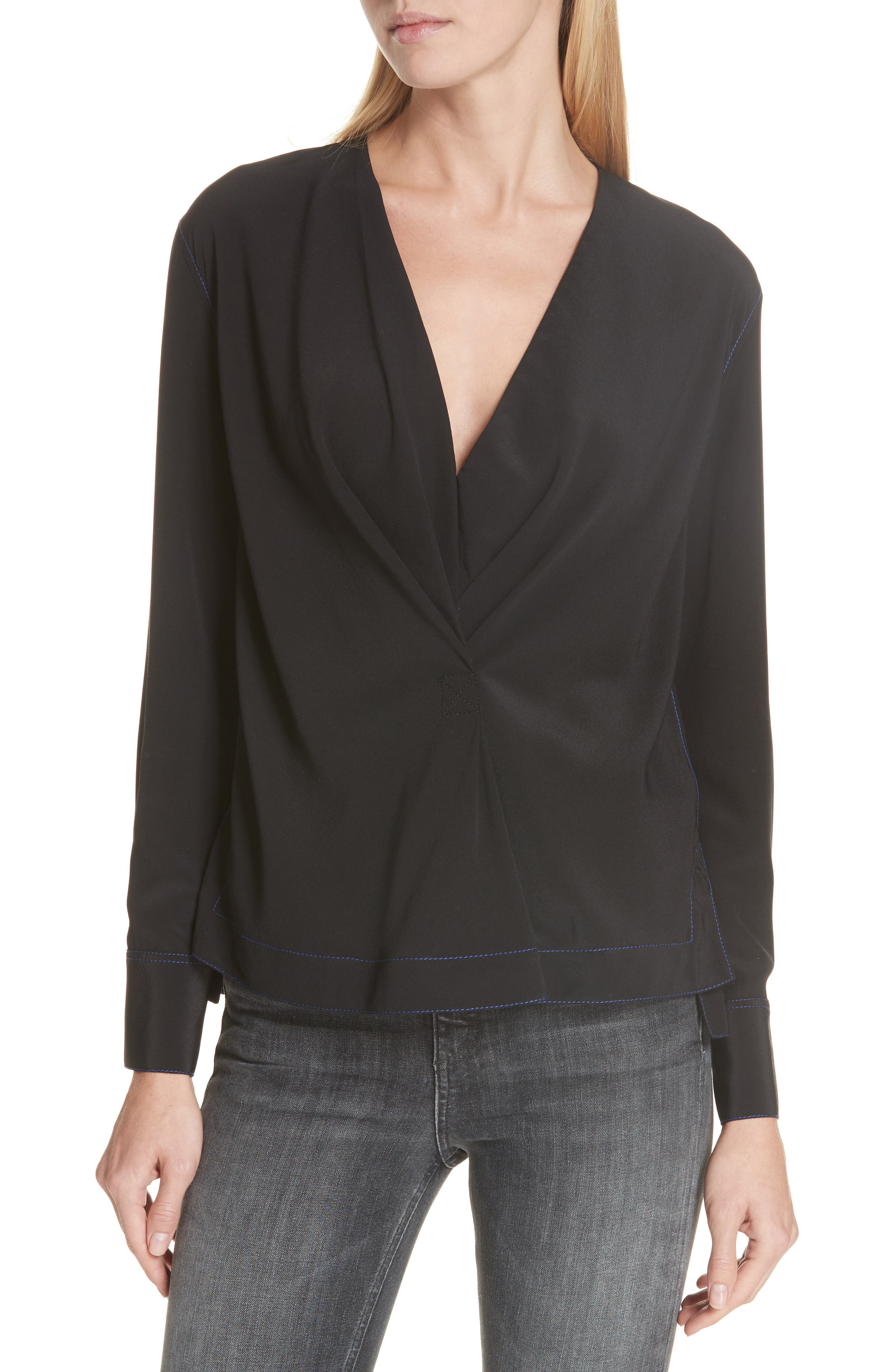 Shields Silk Blouse, Main, color, BLACK